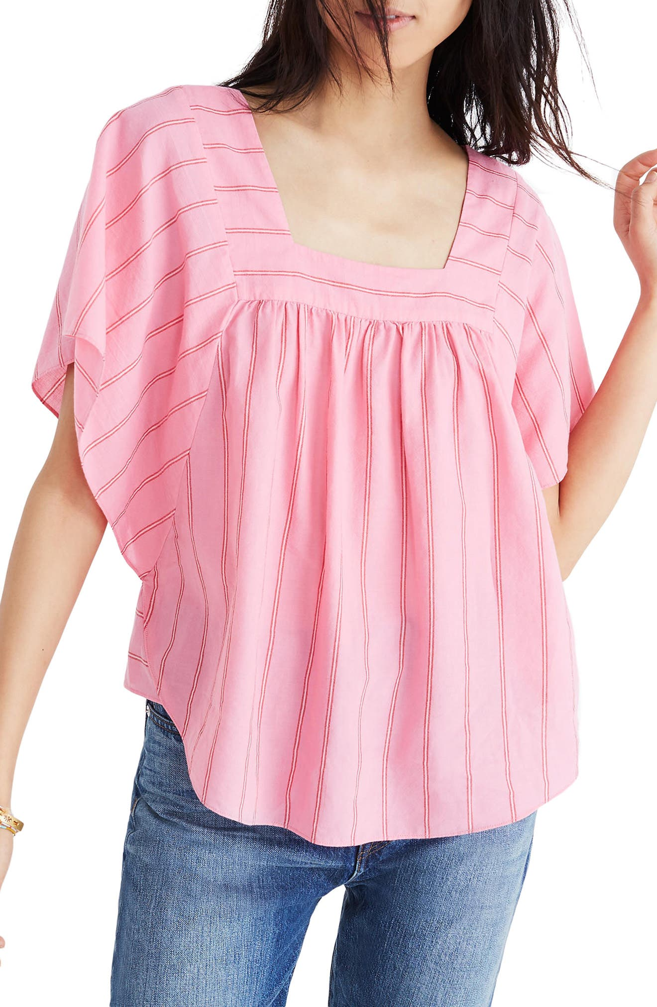 Stripe Butterfly Top,                             Main thumbnail 1, color,                             Peony Pink