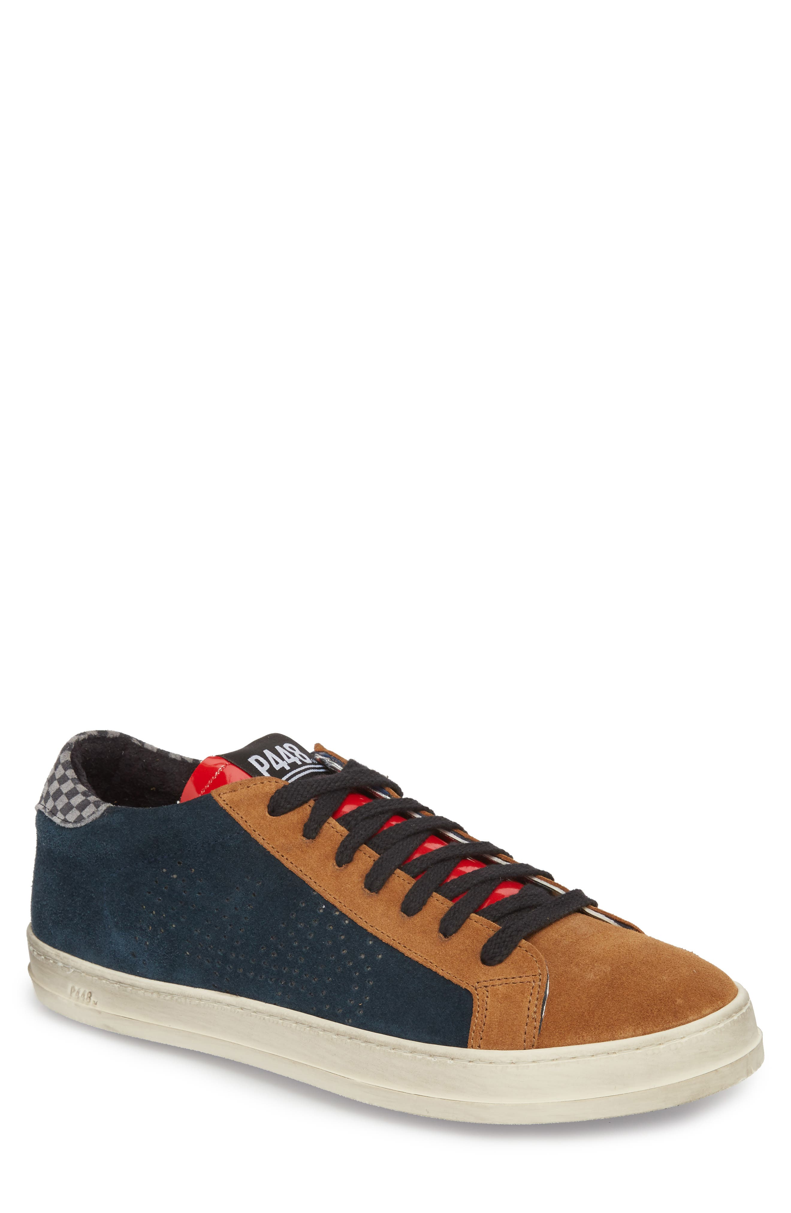 P448 E8 JOHN PATCHWORK-PANEL SUEDE LOW-TOP TRAINERS
