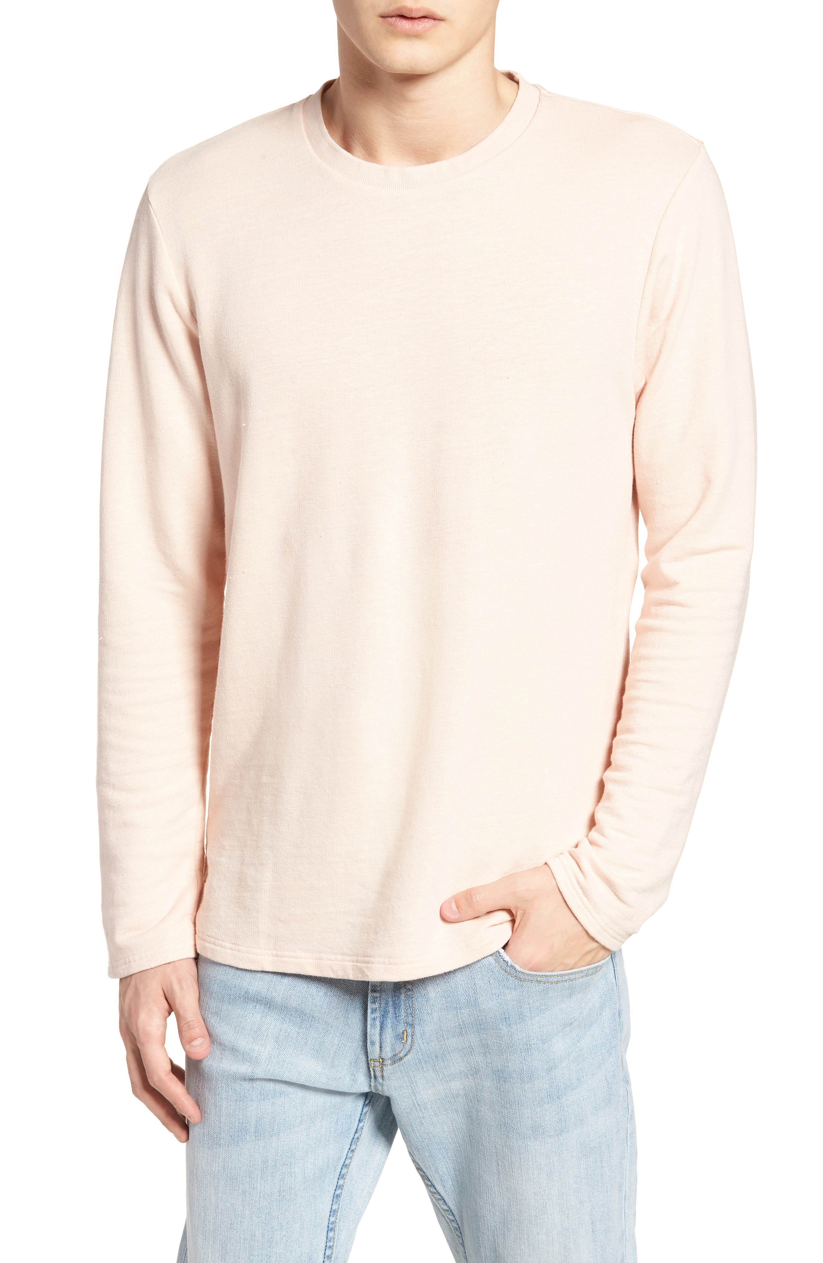 Stripe Crewneck Sweater,                             Main thumbnail 1, color,                             Pink Ash