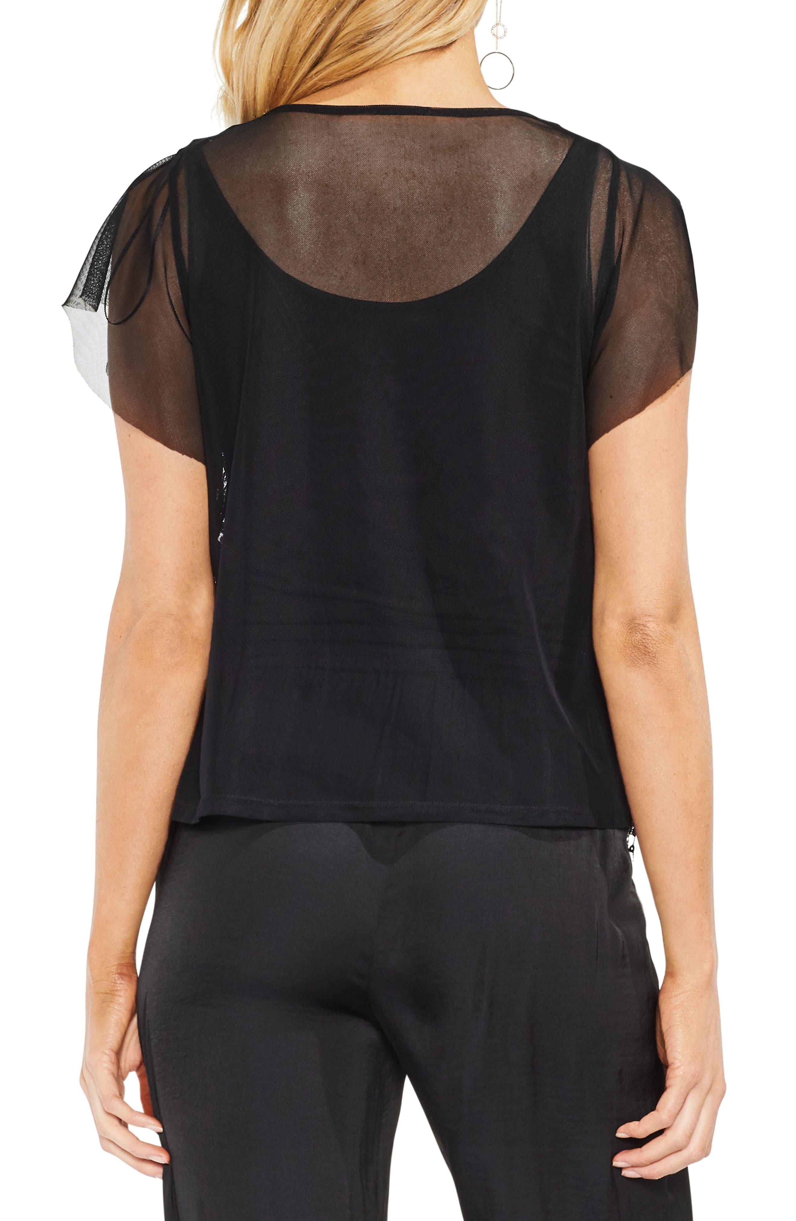 Flutter Sleeve Sequin Mesh Blouse,                             Alternate thumbnail 2, color,                             060-Rich Black