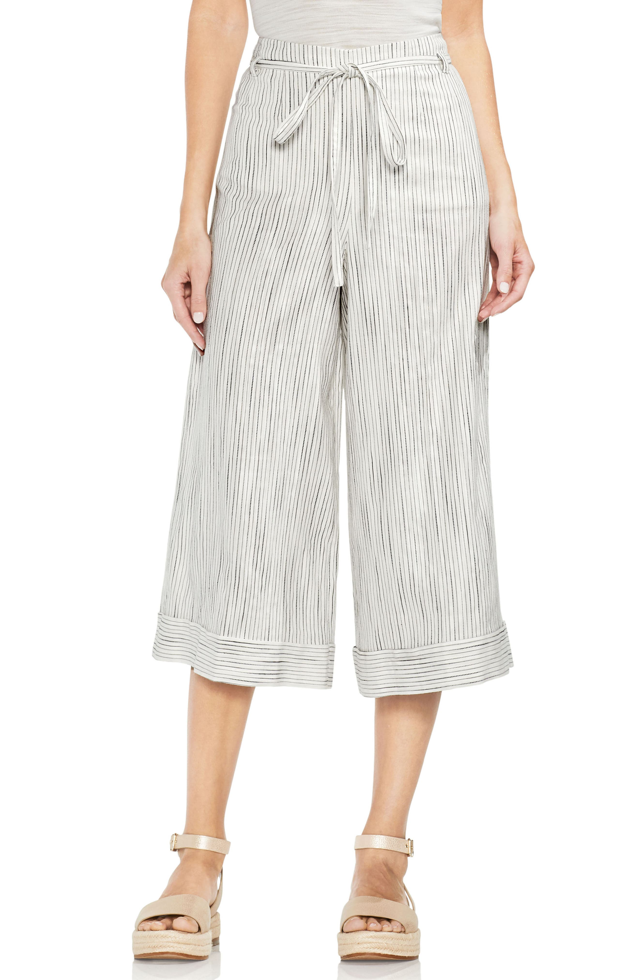 Tie Front Stripe Wide Leg Pants,                         Main,                         color, Rich Black