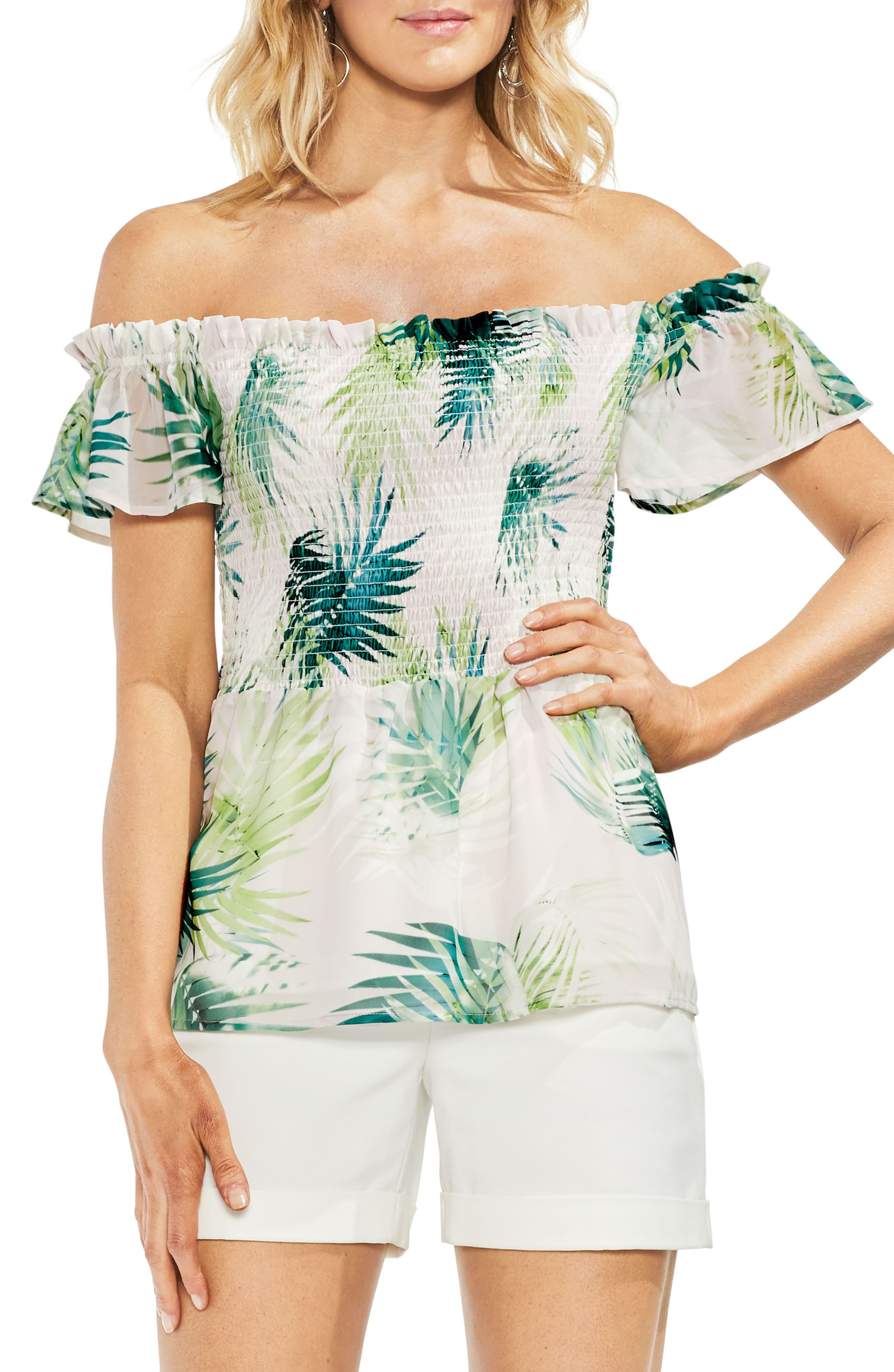 Sunlit Palm Off The Shoulder Top,                         Main,                         color, Verdant Green