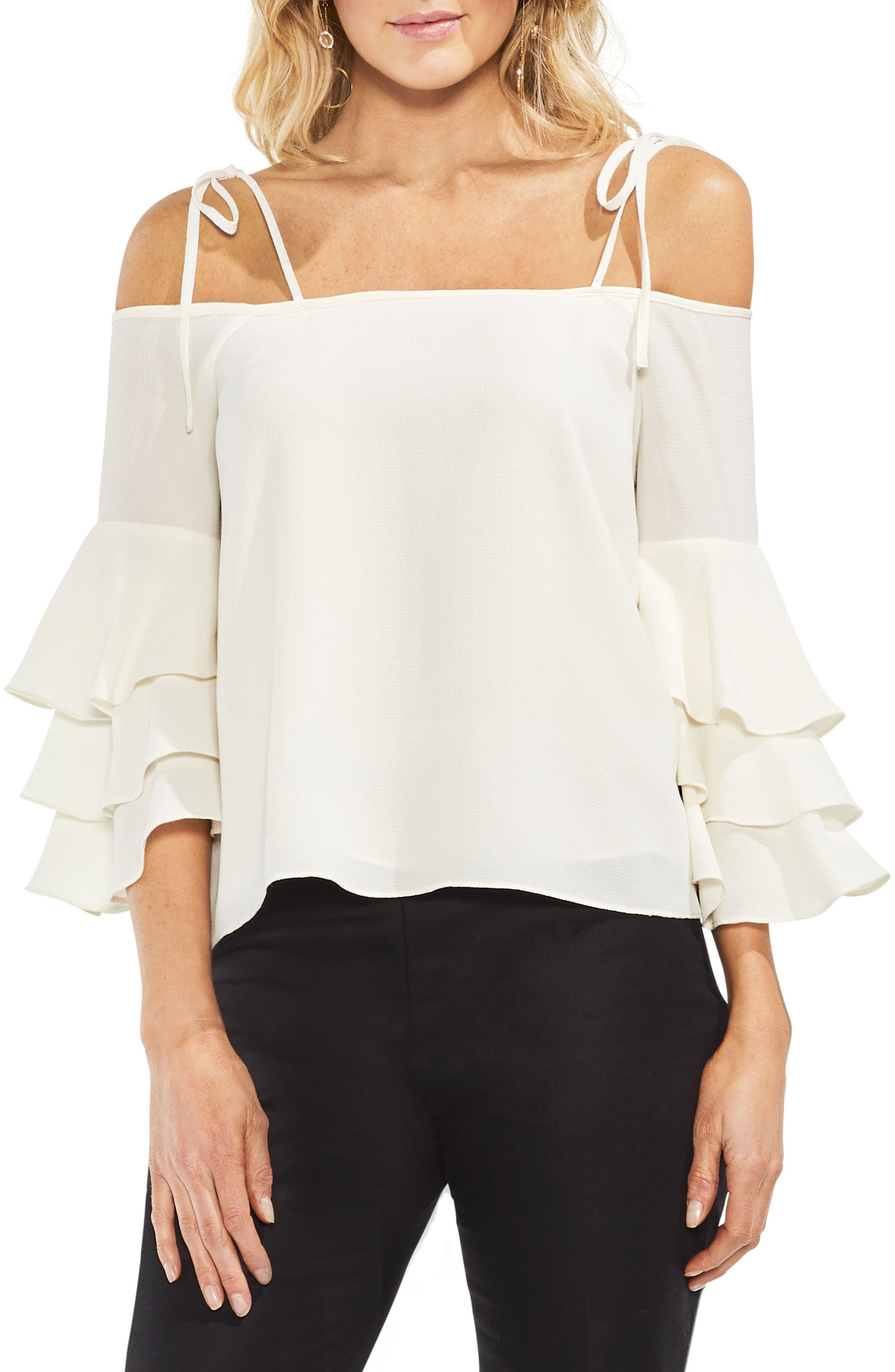 Cold Shoulder Ruffle Sleeve Top,                         Main,                         color, Antique White