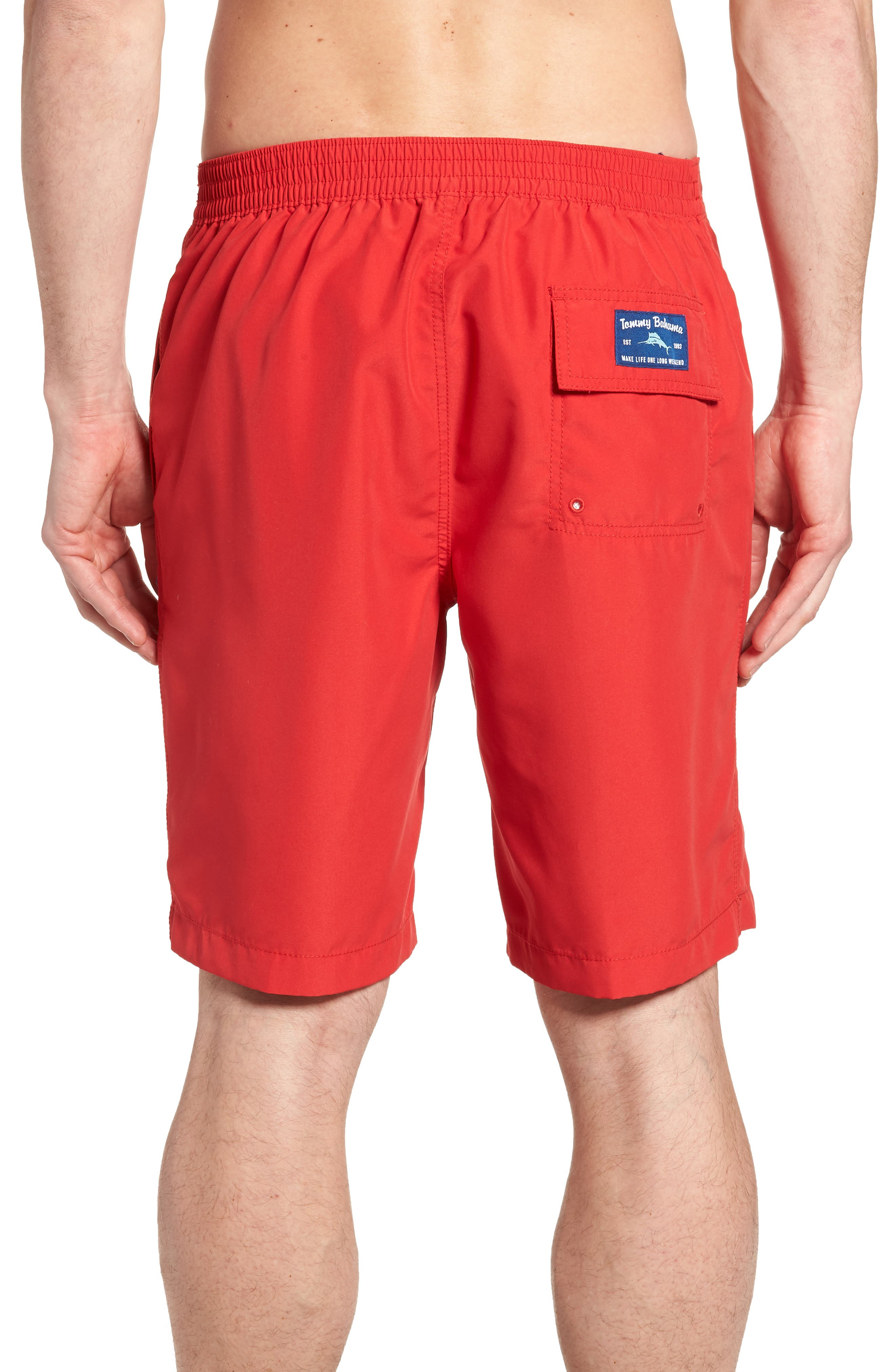 Baja Hula Holiday Marlin Board Shorts,                             Alternate thumbnail 2, color,                             Ribbon Red