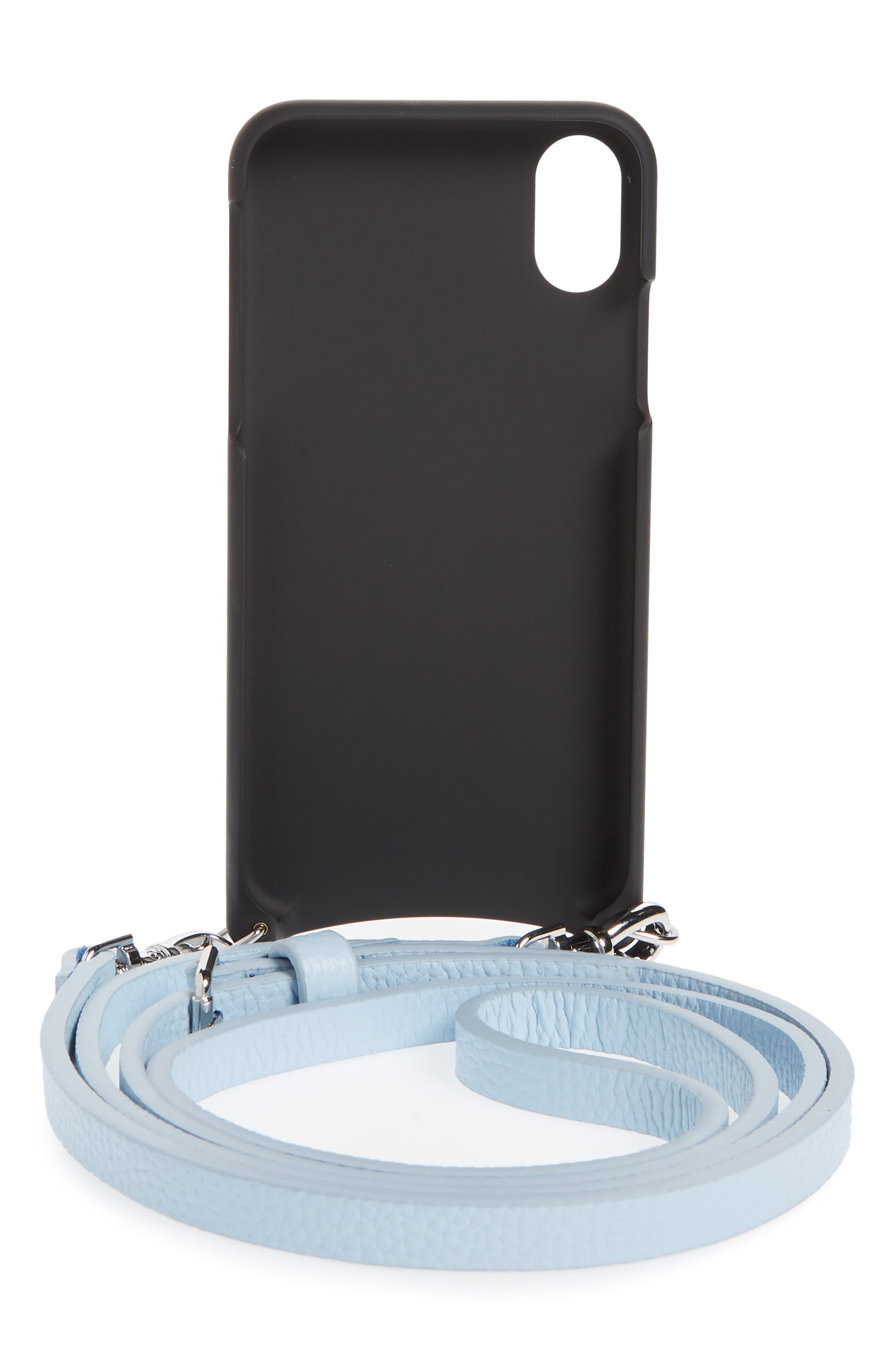 Emma iPhone X Crossbody Case,                             Alternate thumbnail 3, color,                             Light Blue/ Silver
