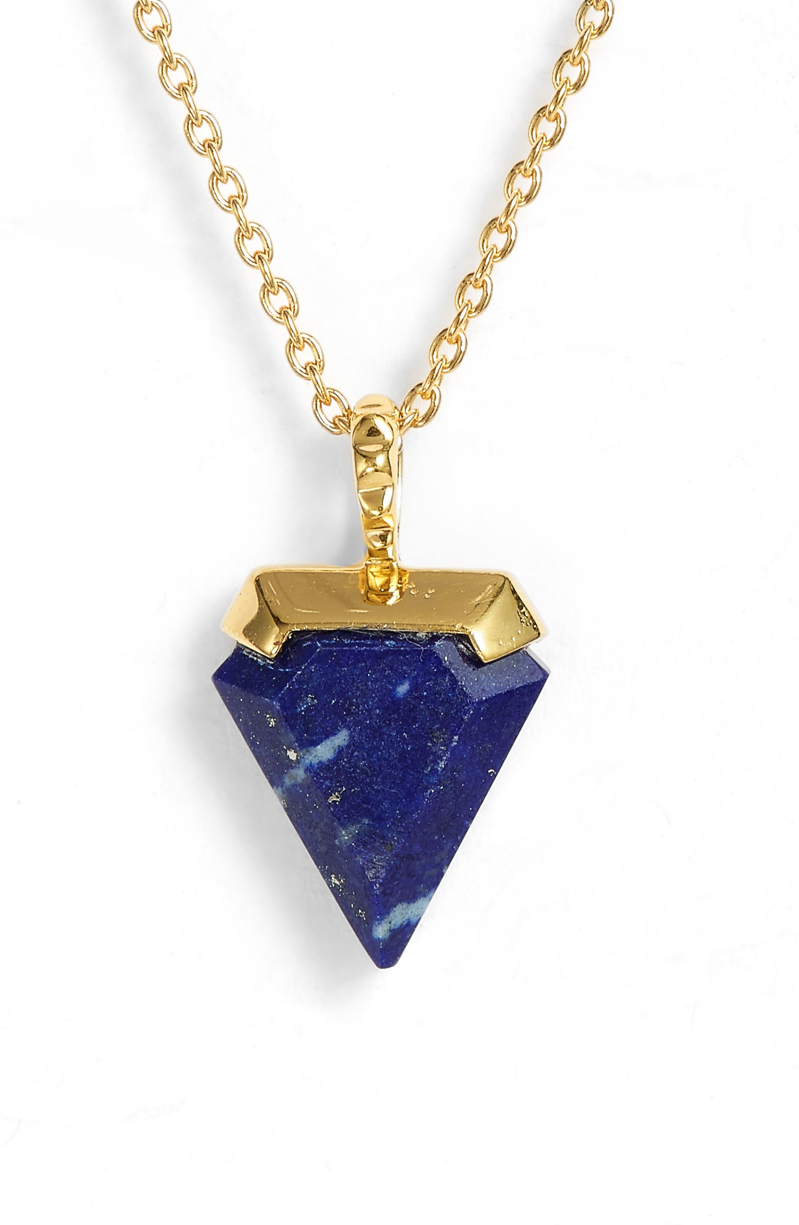 Mini Shield Pendant Necklace,                         Main,                         color, Lapis/ Gold