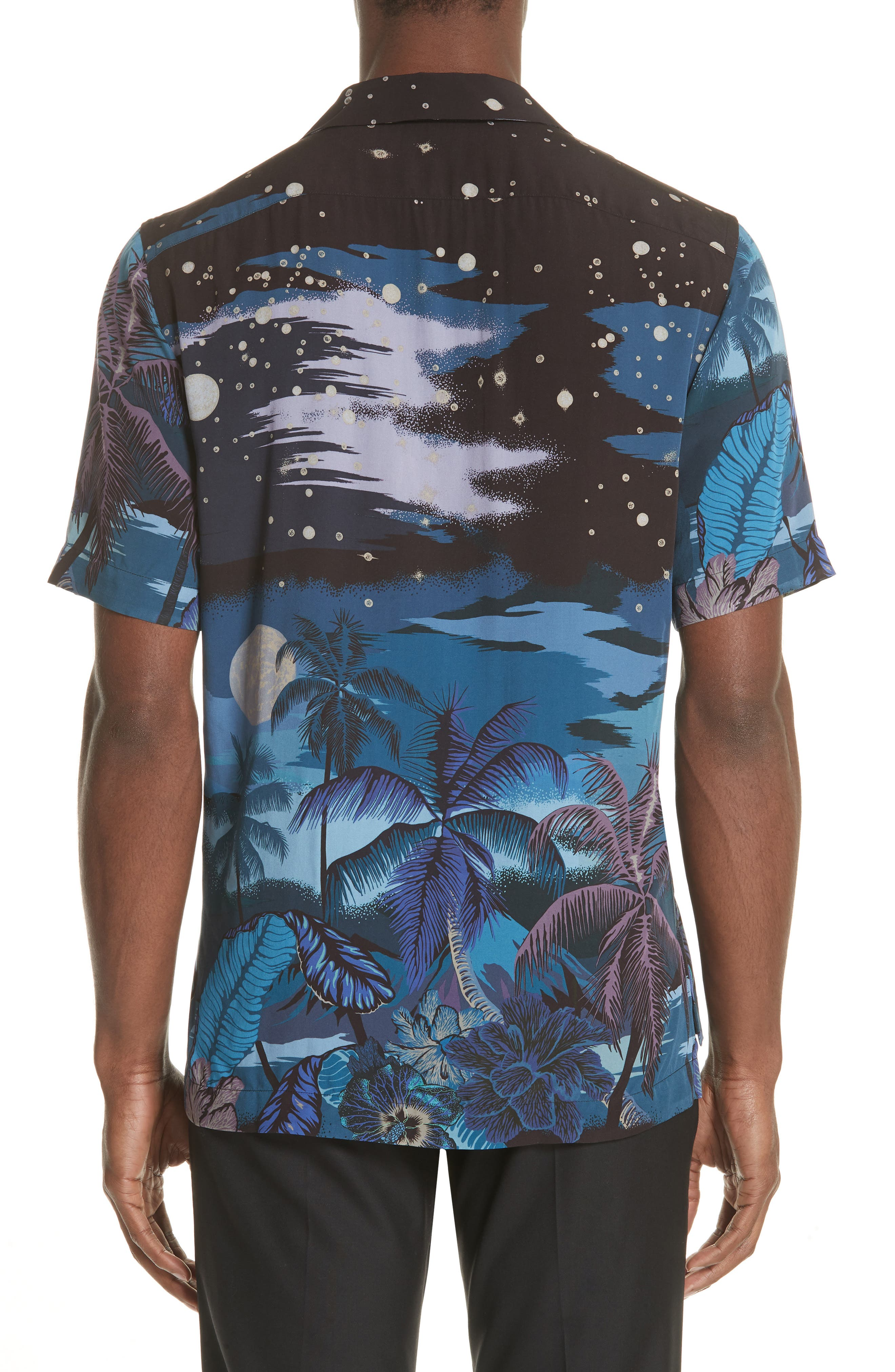 Palm Tree Print Shirt,                             Alternate thumbnail 3, color,                             47 Midnight