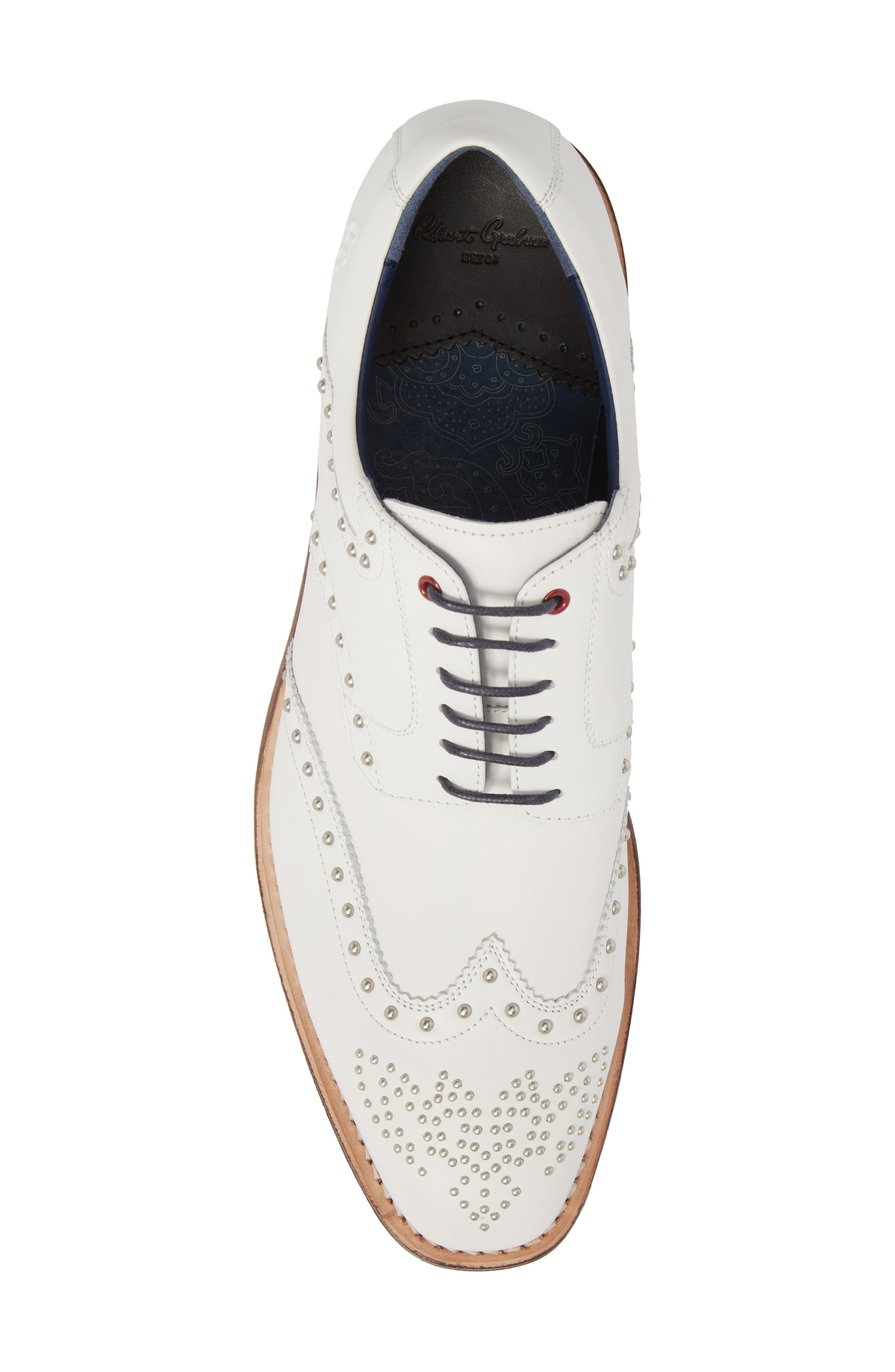 Rocker Plain Toe Oxford with Removable Cleats,                             Alternate thumbnail 5, color,                             White Leather