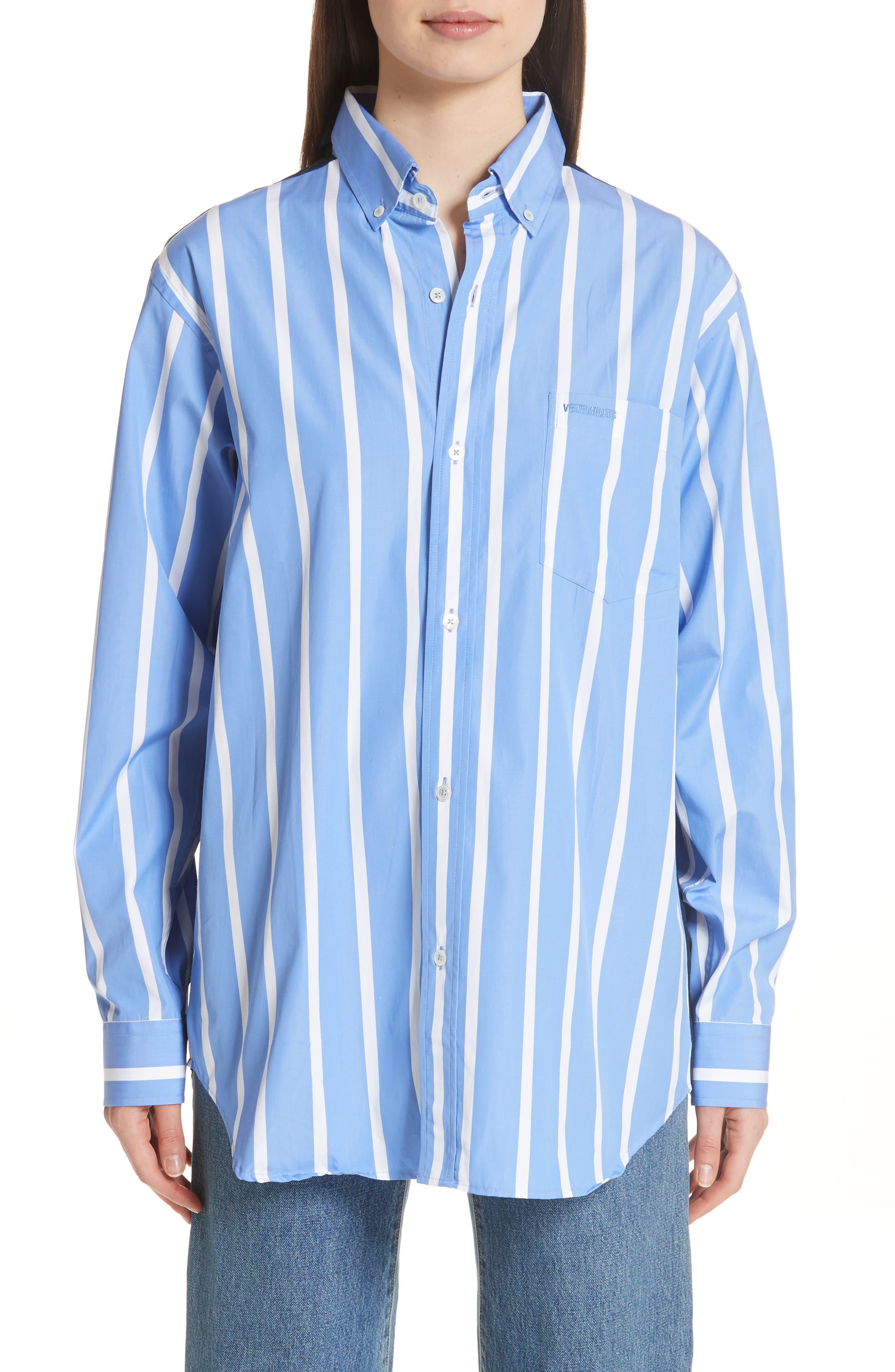 Front to Back Cotton Shirt,                             Main thumbnail 1, color,                             Blue Stripe