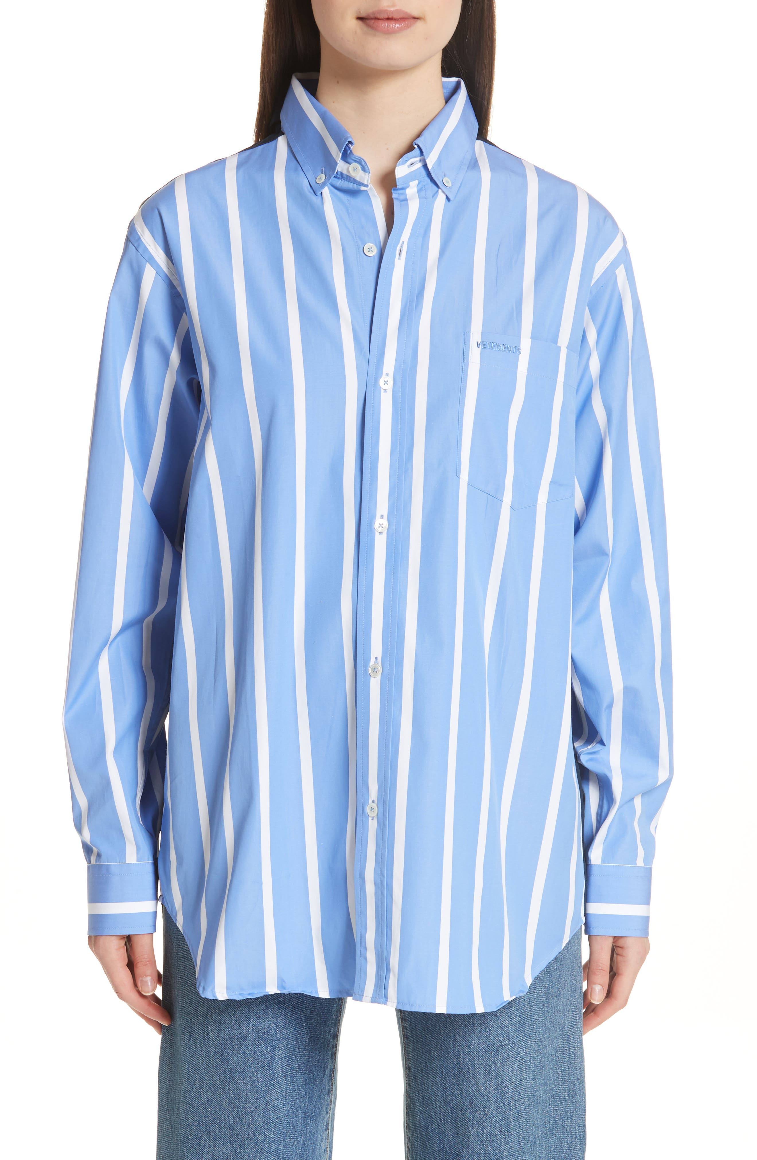 Front to Back Cotton Shirt,                         Main,                         color, Blue Stripe