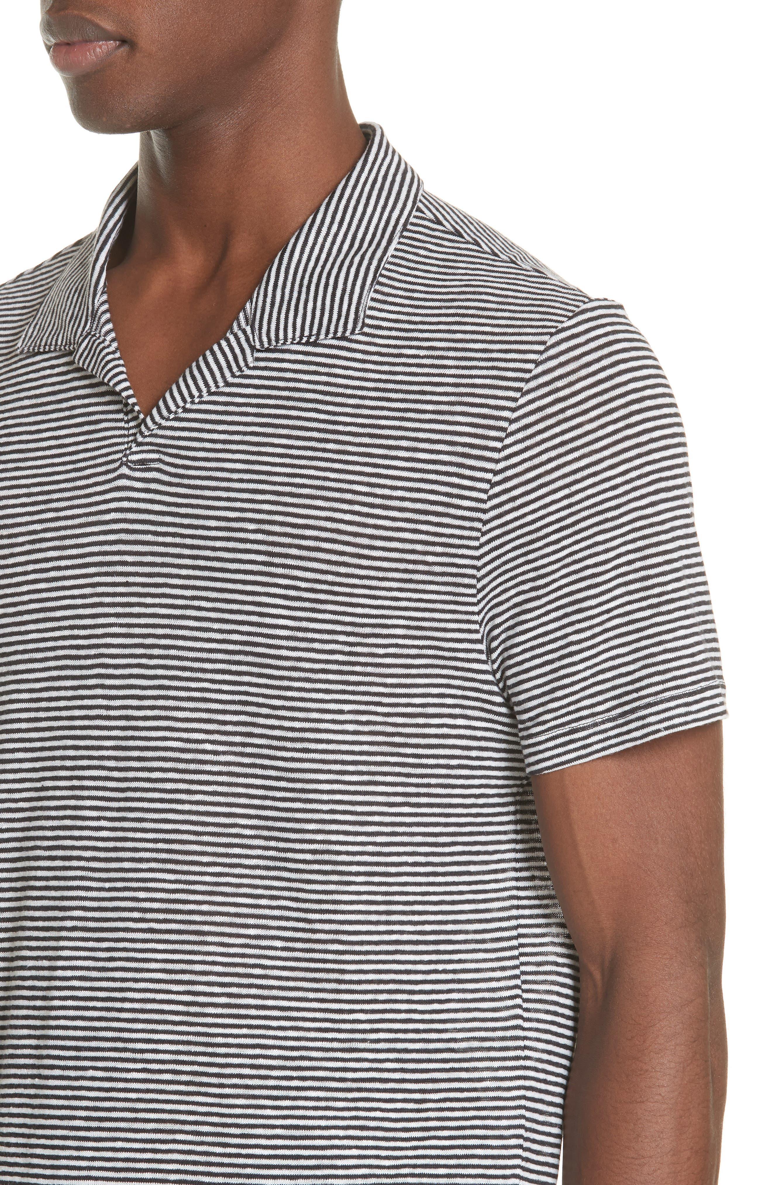 Shaun Stripe Polo,                             Alternate thumbnail 4, color,                             Black/ White