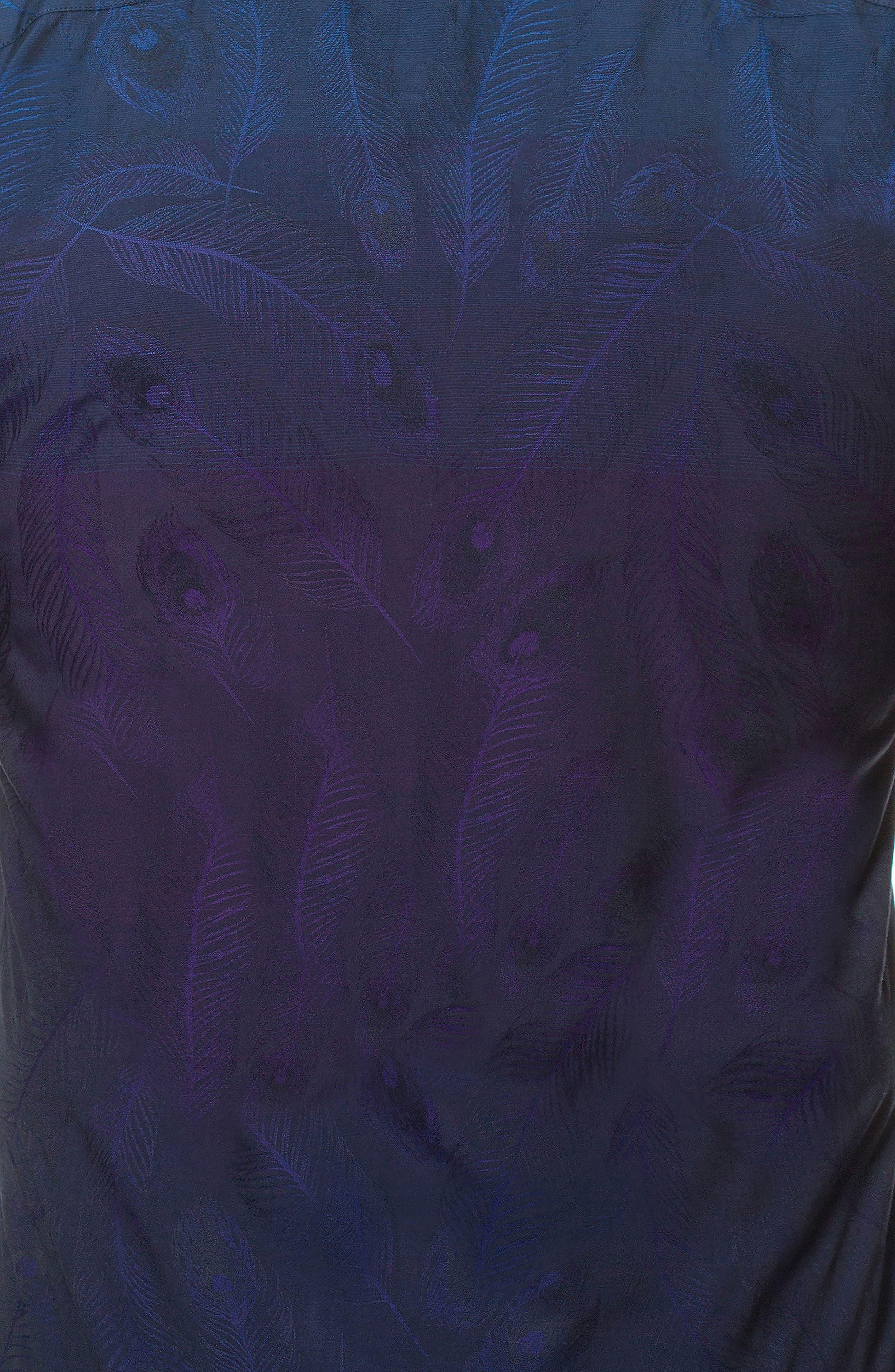 Wall Street Peacock Slim Fit Sport Shirt,                             Alternate thumbnail 4, color,                             Purple