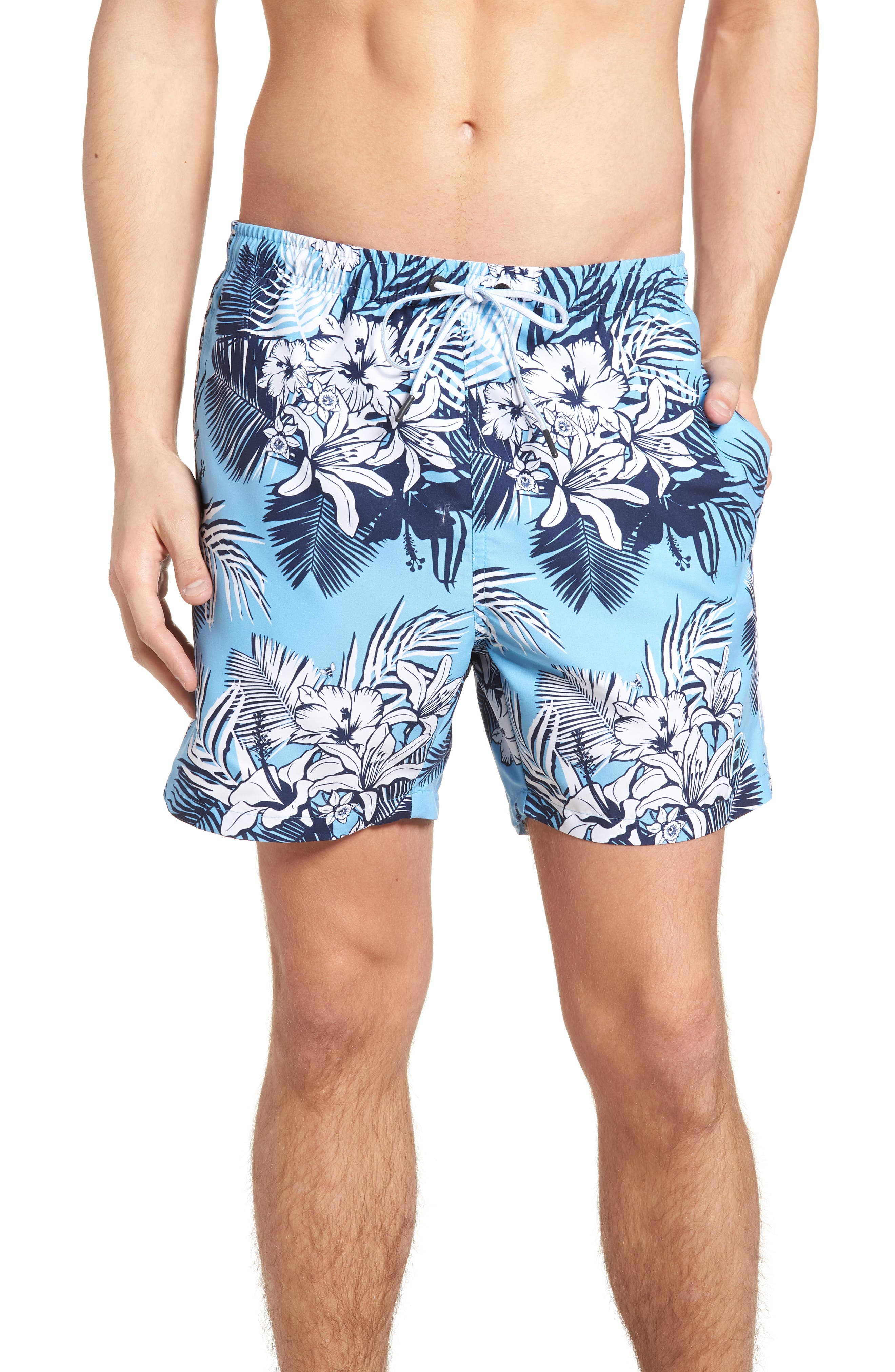 Alternate Image 1 Selected - BOSS Piranha Floral Swim Trunks