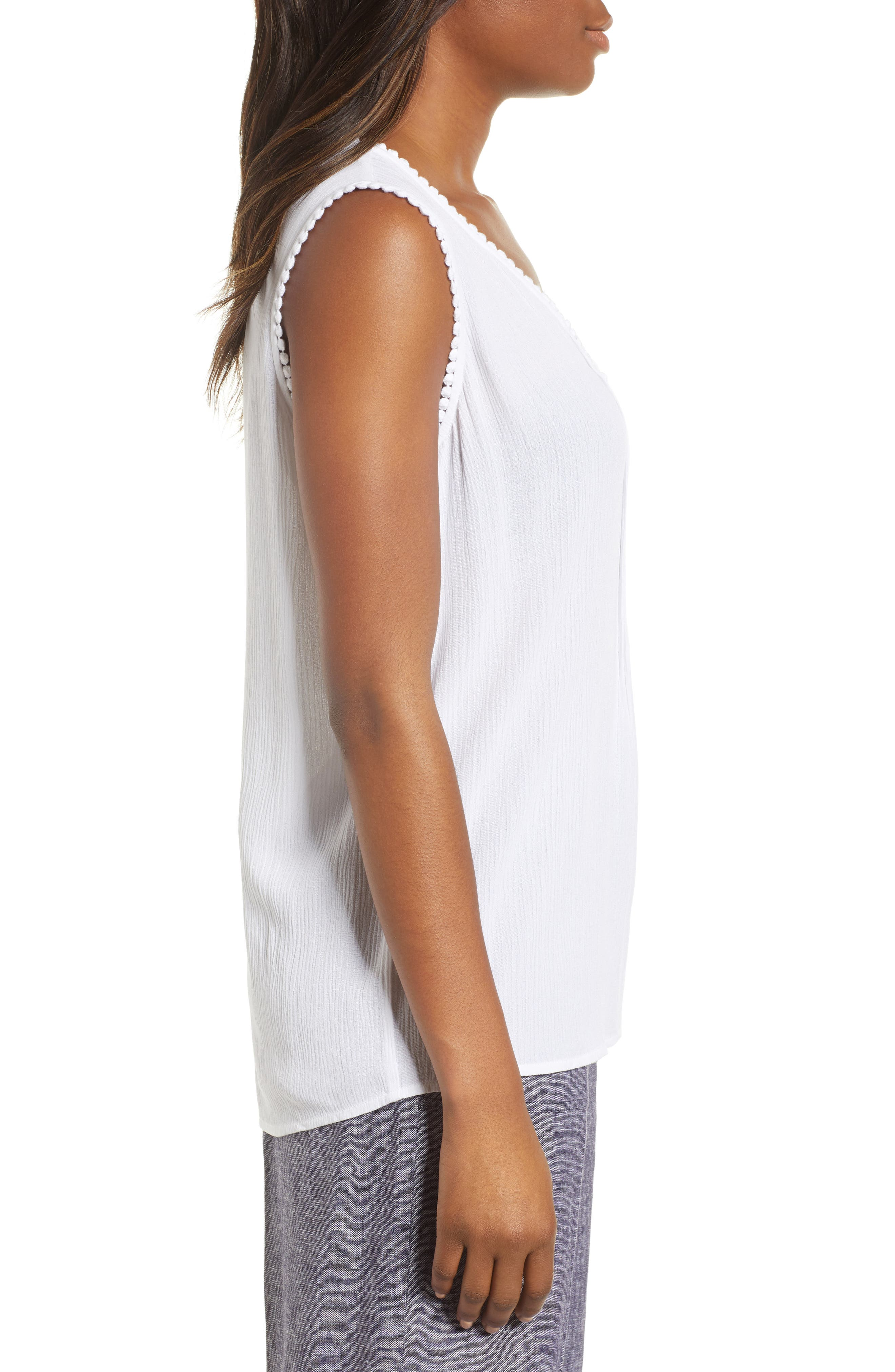 Pintuck Gauze Top,                             Alternate thumbnail 3, color,                             Ultra White