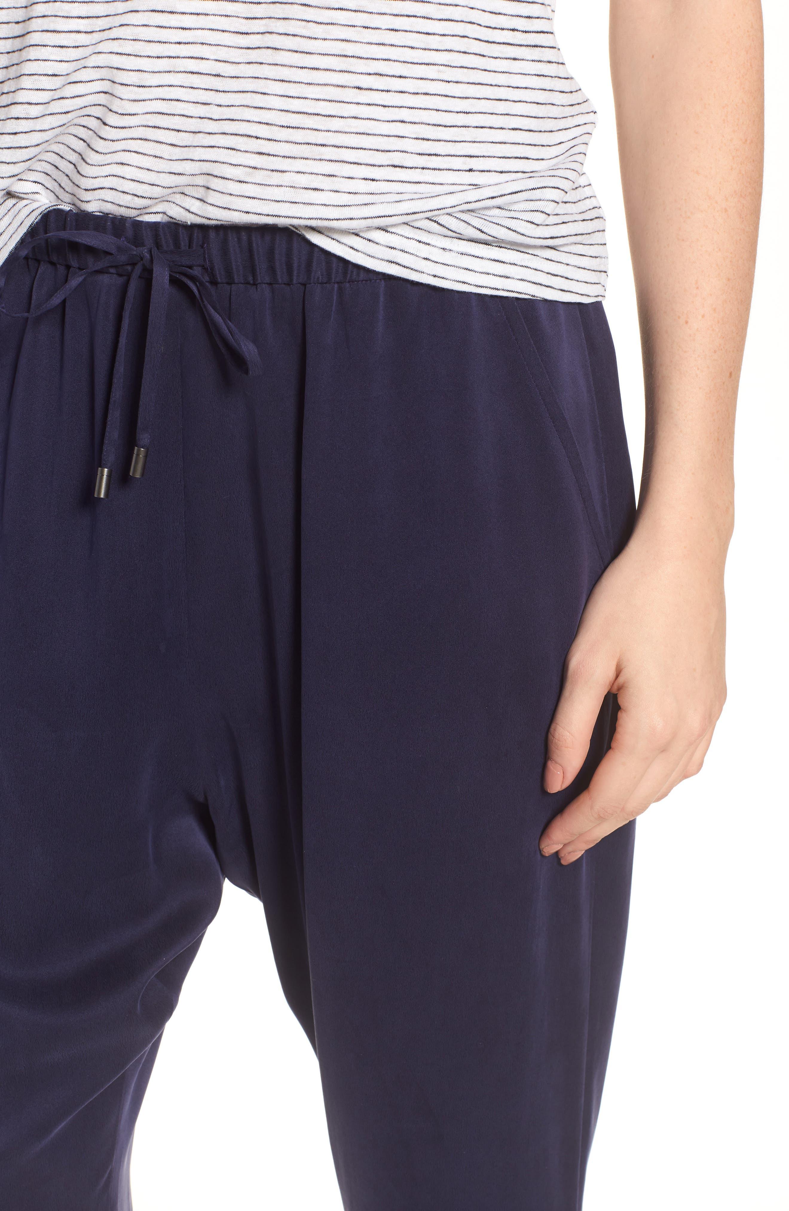 Slouchy Silk Crop Pants,                             Alternate thumbnail 4, color,                             Salt Lake