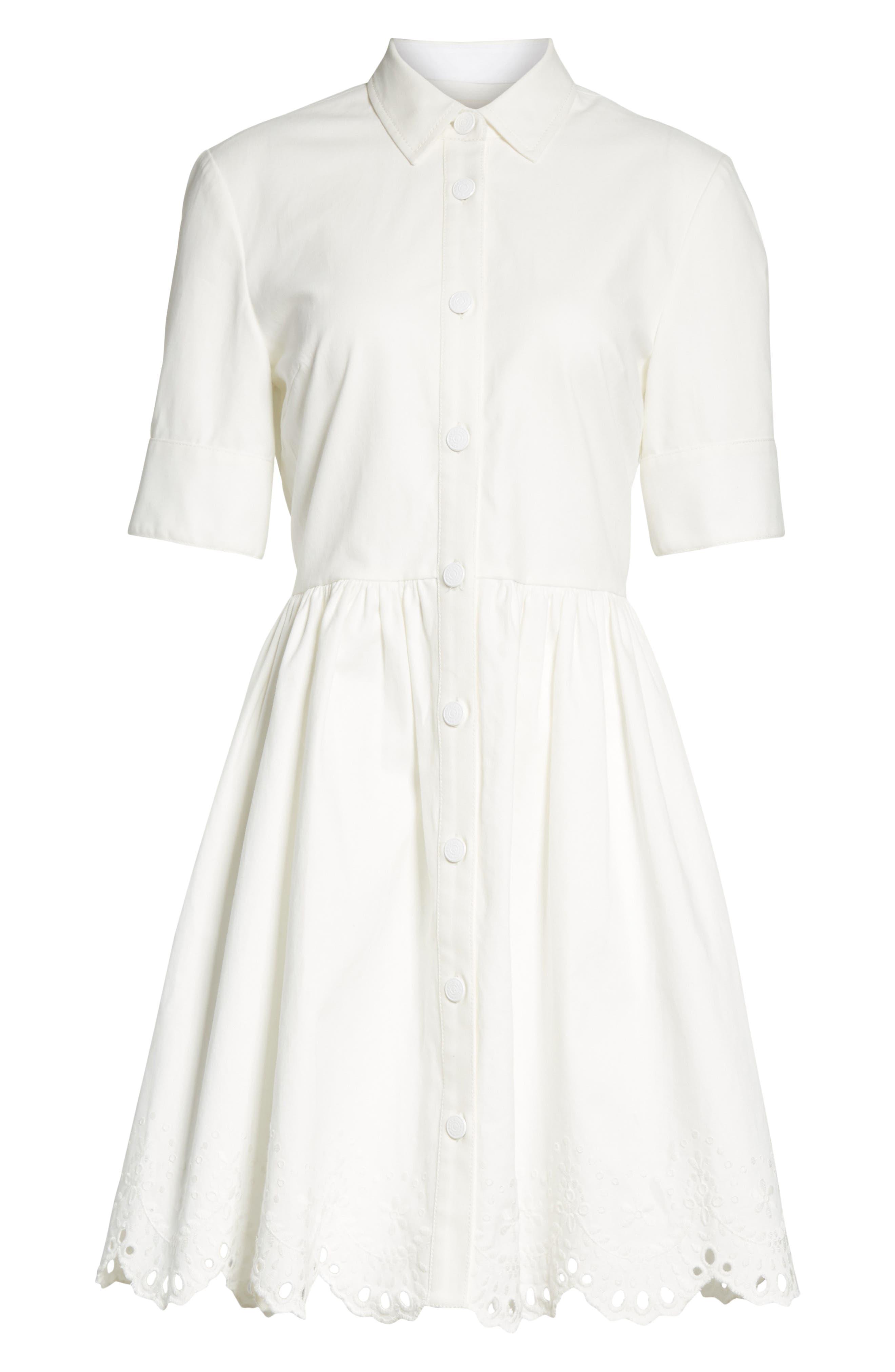 cutwork denim shirtdress,                             Alternate thumbnail 6, color,                             White