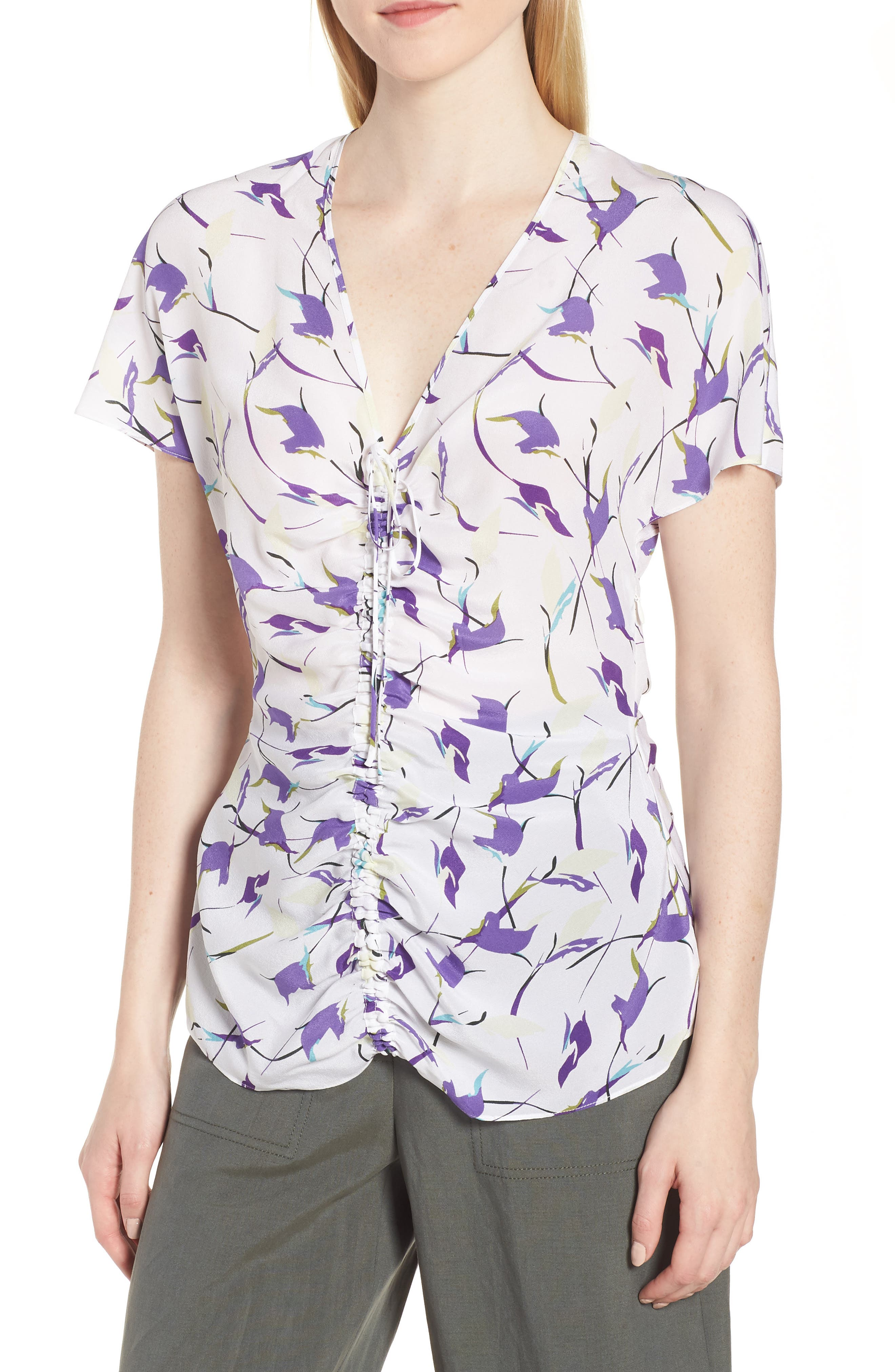 Lewit Ruched Front Silk Blouse