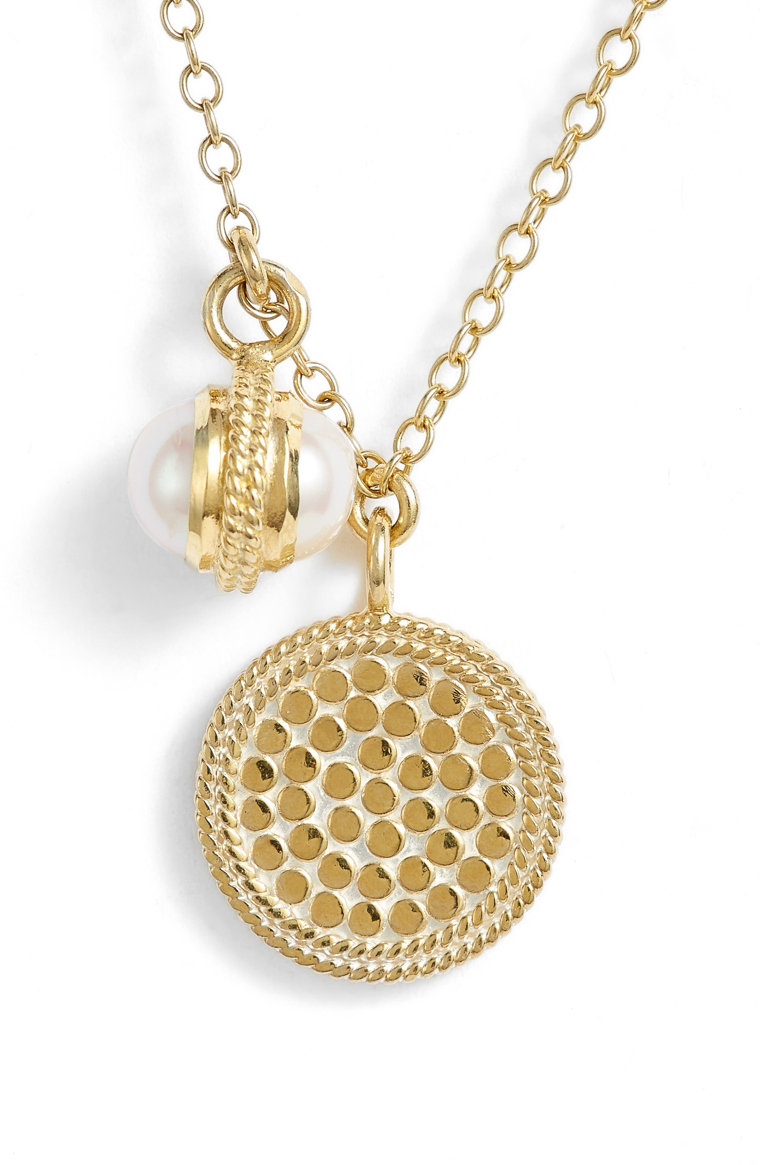 Anna Beck Double Pearl Disc Pendant Necklace