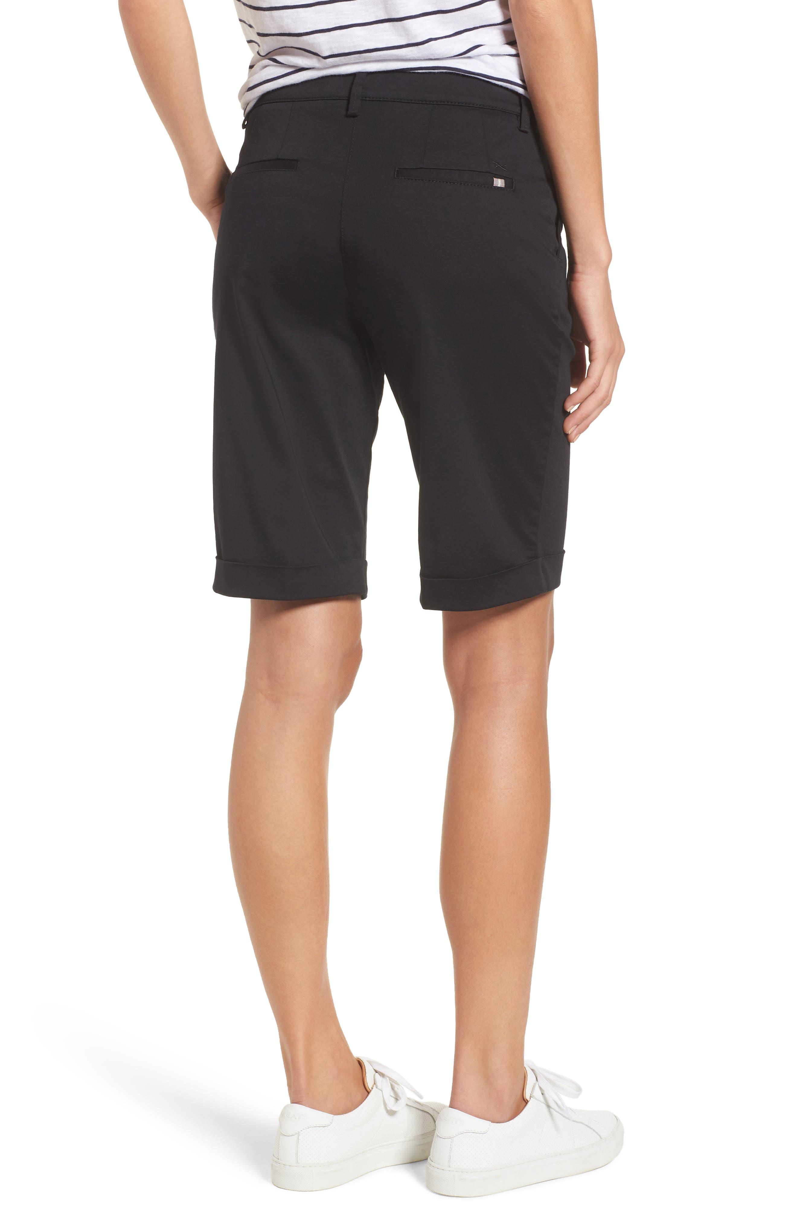 Stretch Cotton Cuff Bermuda Shorts,                             Alternate thumbnail 2, color,                             Perma Black