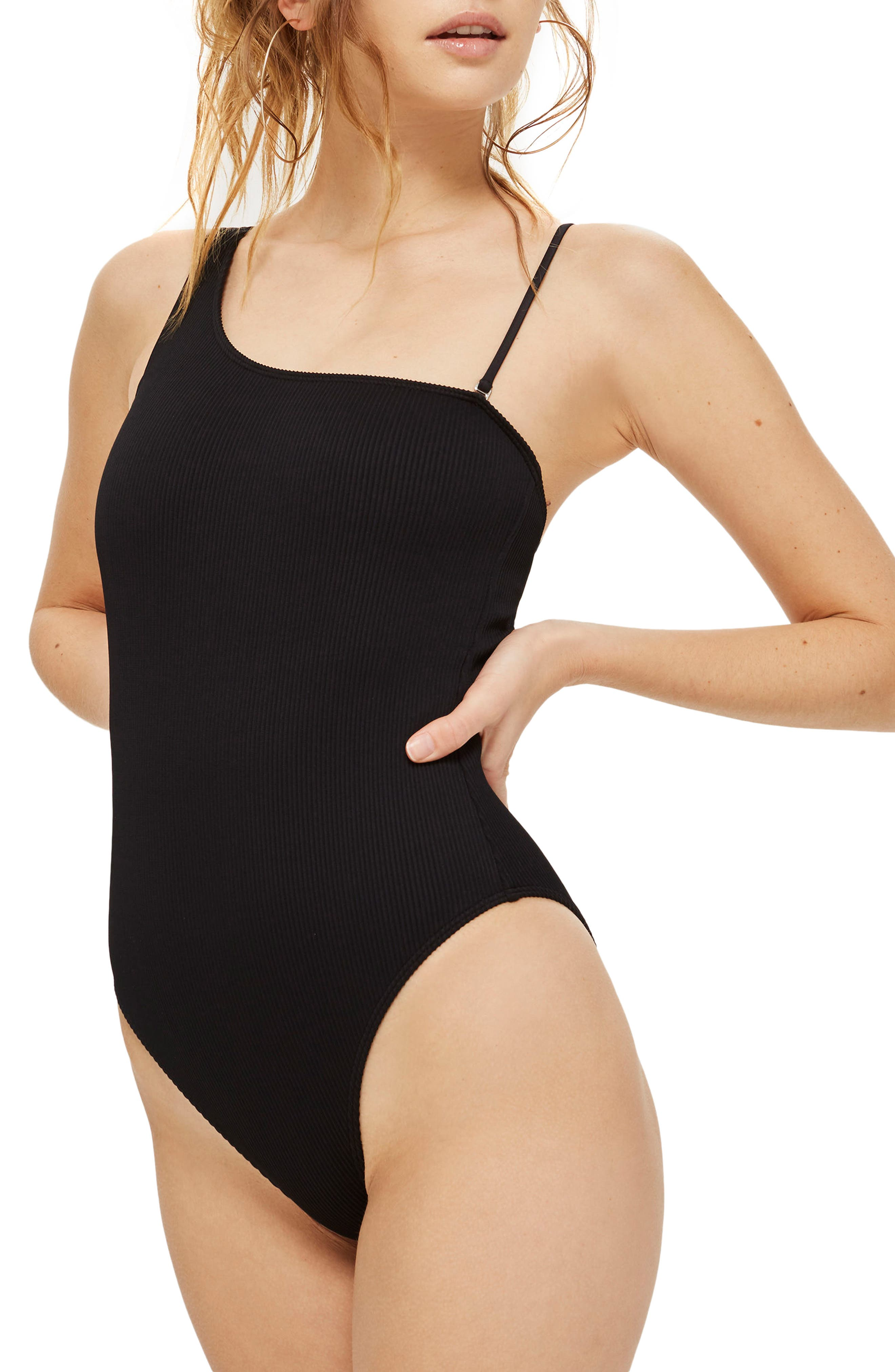 Ribbed One-Shoulder One-Piece Swimsuit,                         Main,                         color, Black