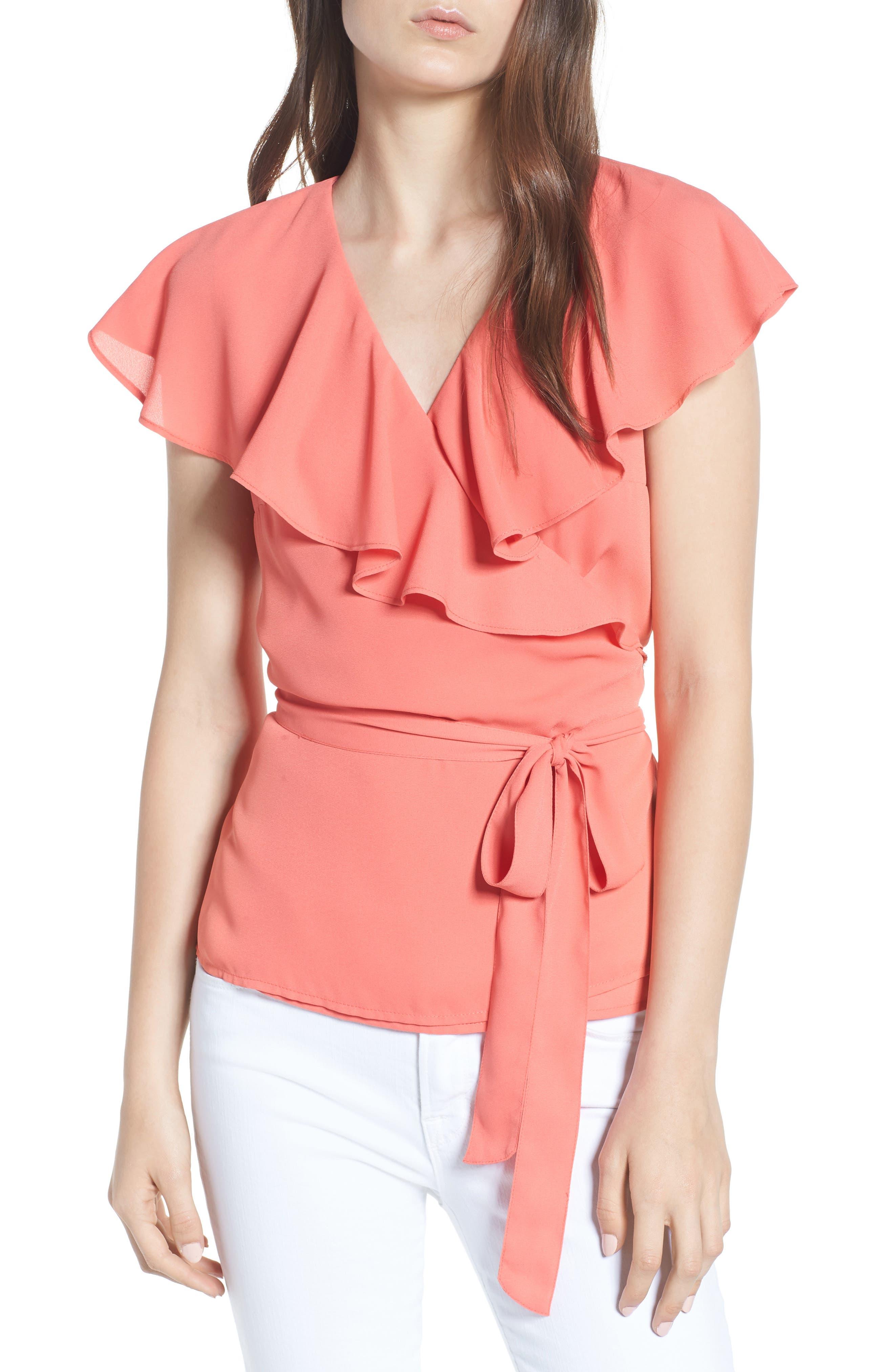 Wrap Top,                             Main thumbnail 1, color,                             Coral Spice