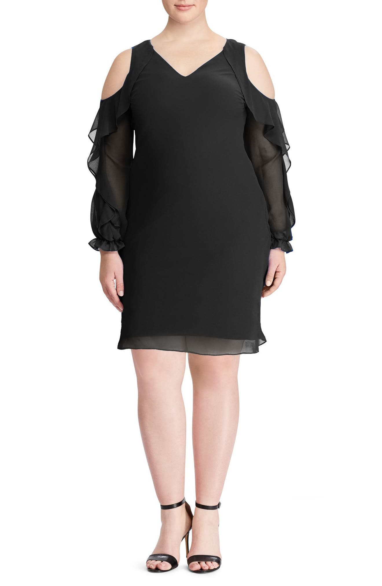 Paiva Ruffle Cold Shoulder Georgette Dress,                             Main thumbnail 1, color,                             Black