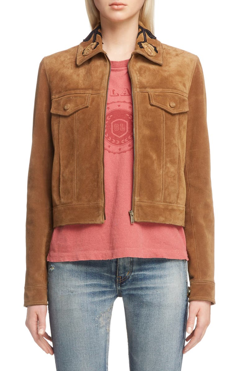 Rose Detail Suede Jacket