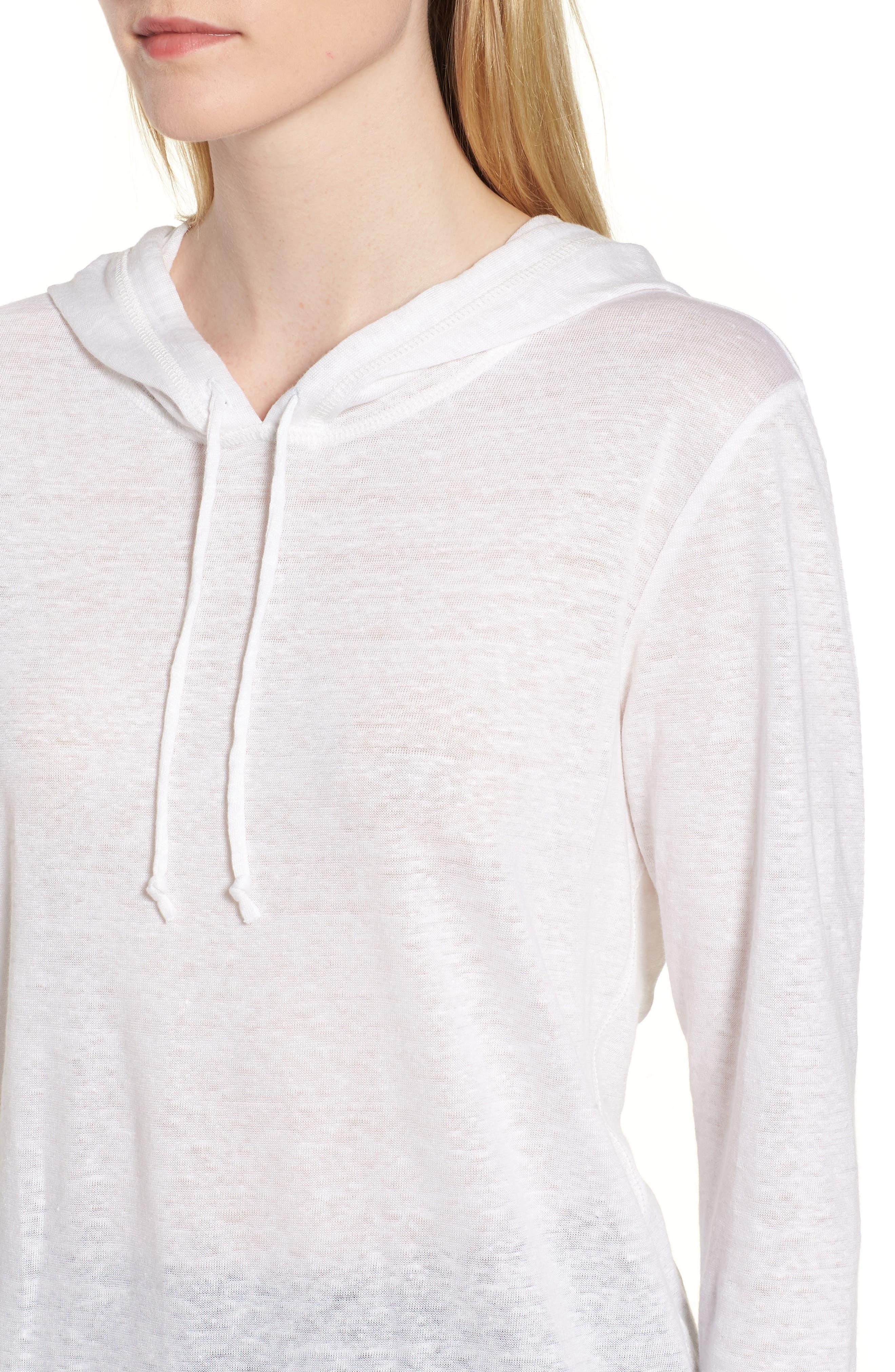 Knit Linen Hoodie,                             Alternate thumbnail 4, color,                             White