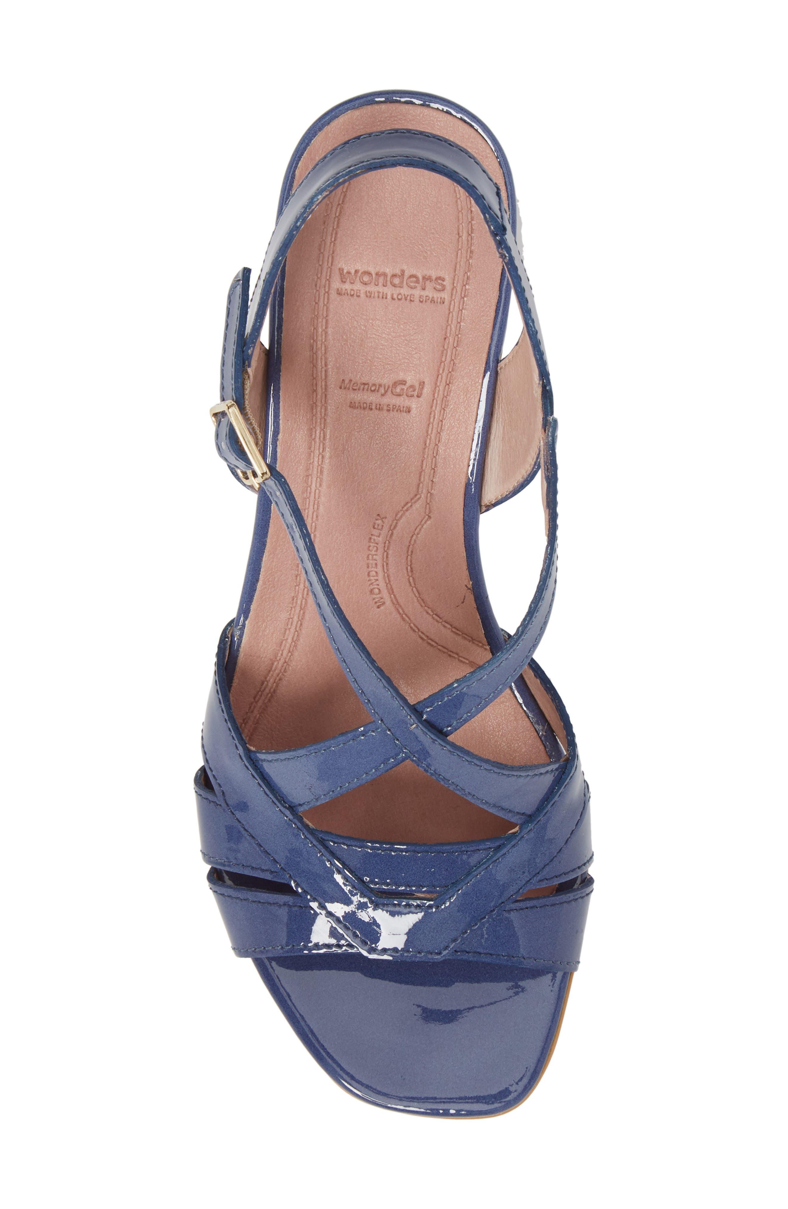 Block Heel Sandal,                             Alternate thumbnail 5, color,                             Jean Patent Leather