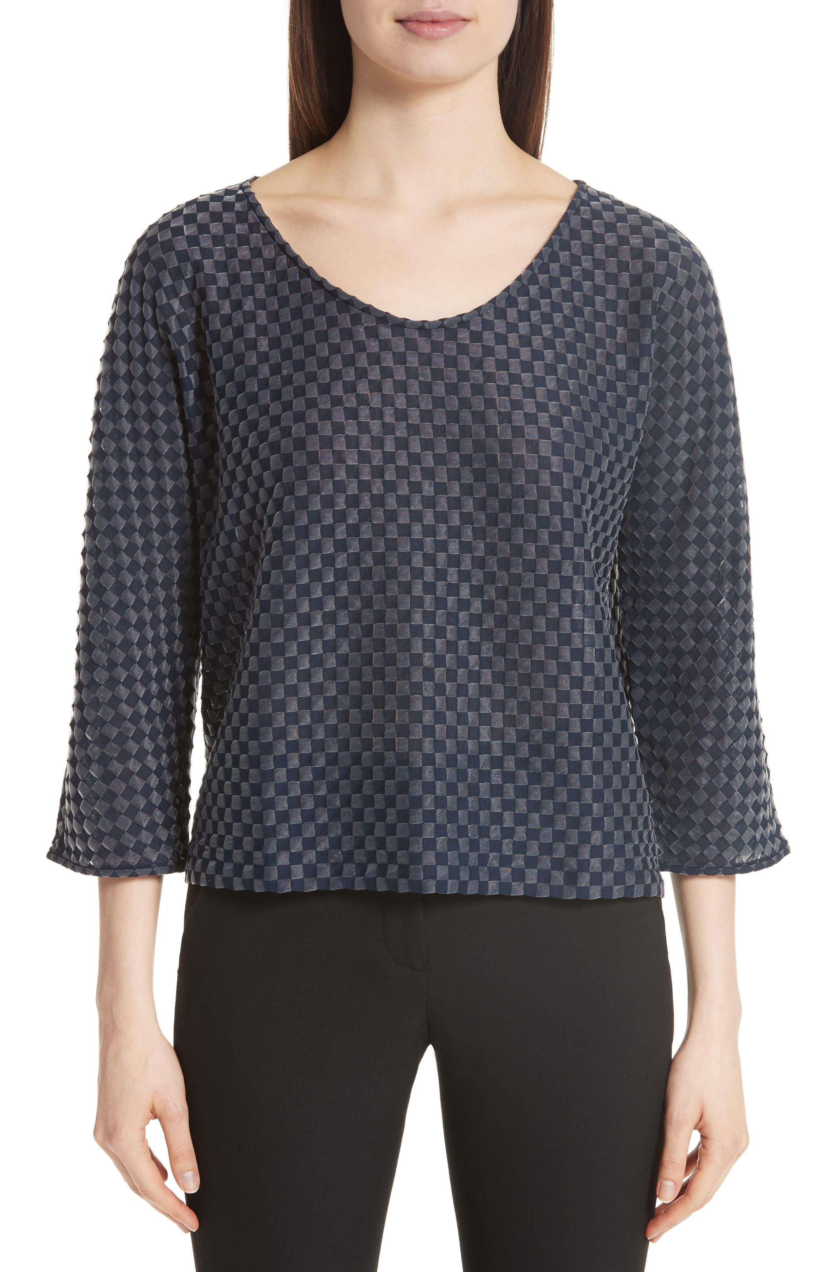 Emporio Armani Checkerboard Print Jersey Top