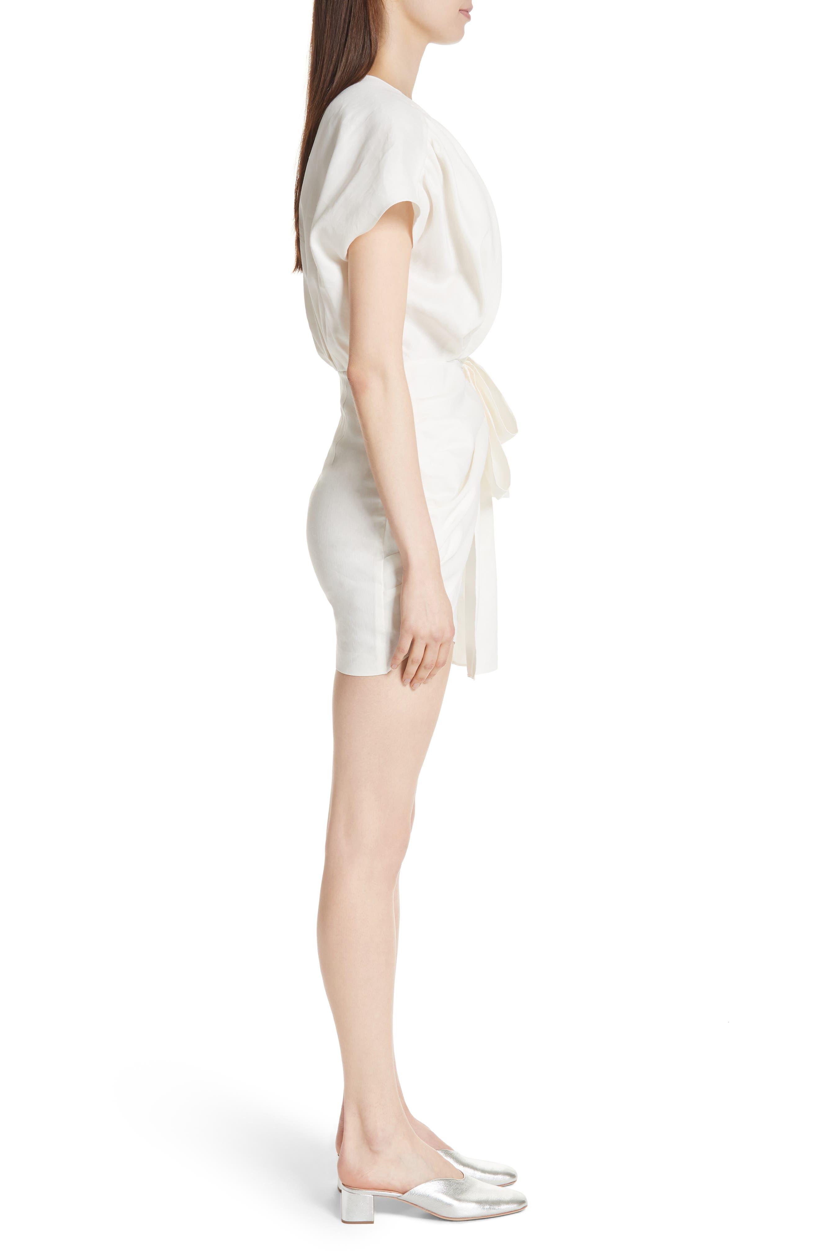 Gathered Linen Blend Dress,                             Alternate thumbnail 3, color,                             White