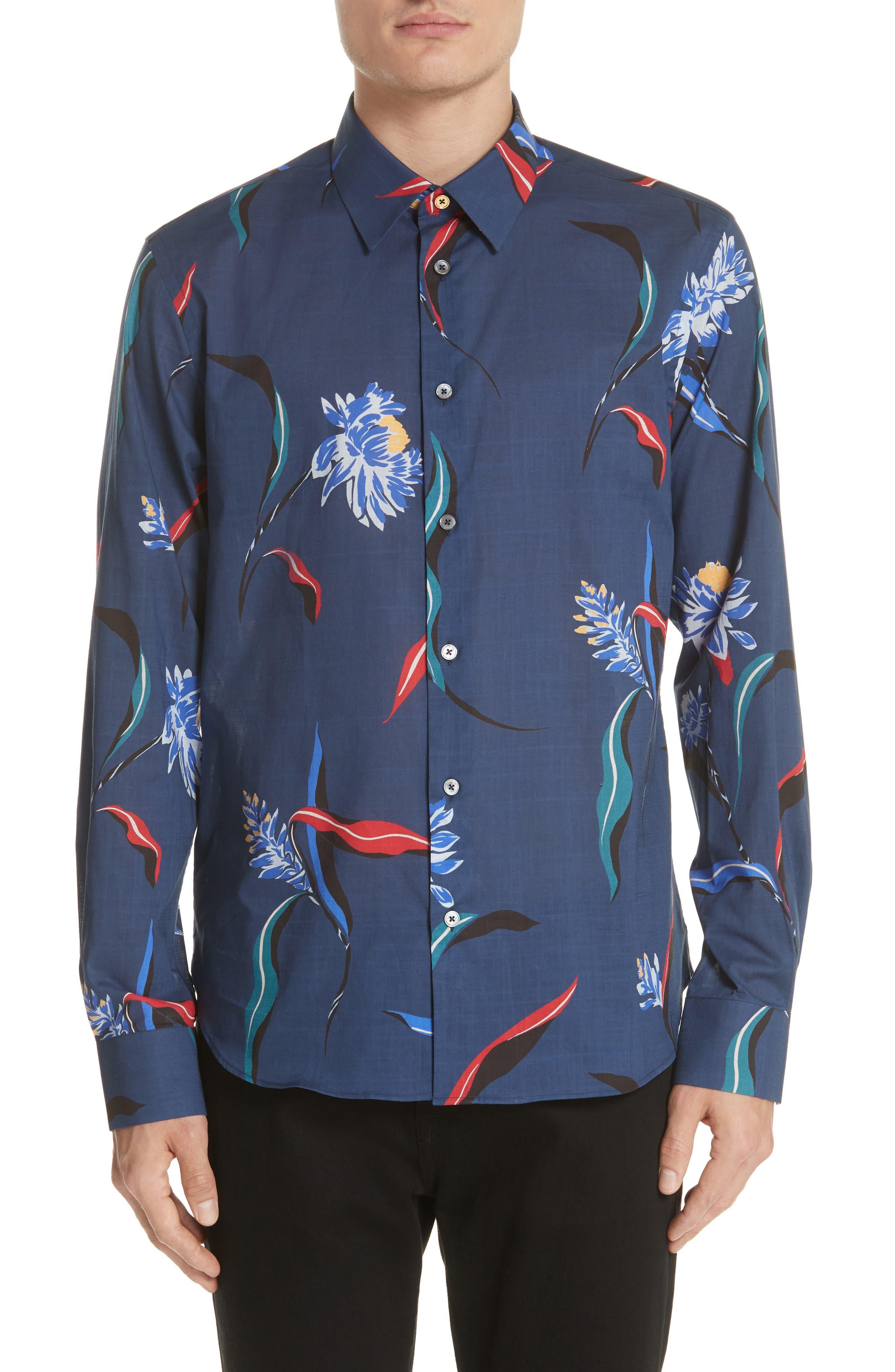 Floral Woven Shirt,                         Main,                         color, 03 Light Blue