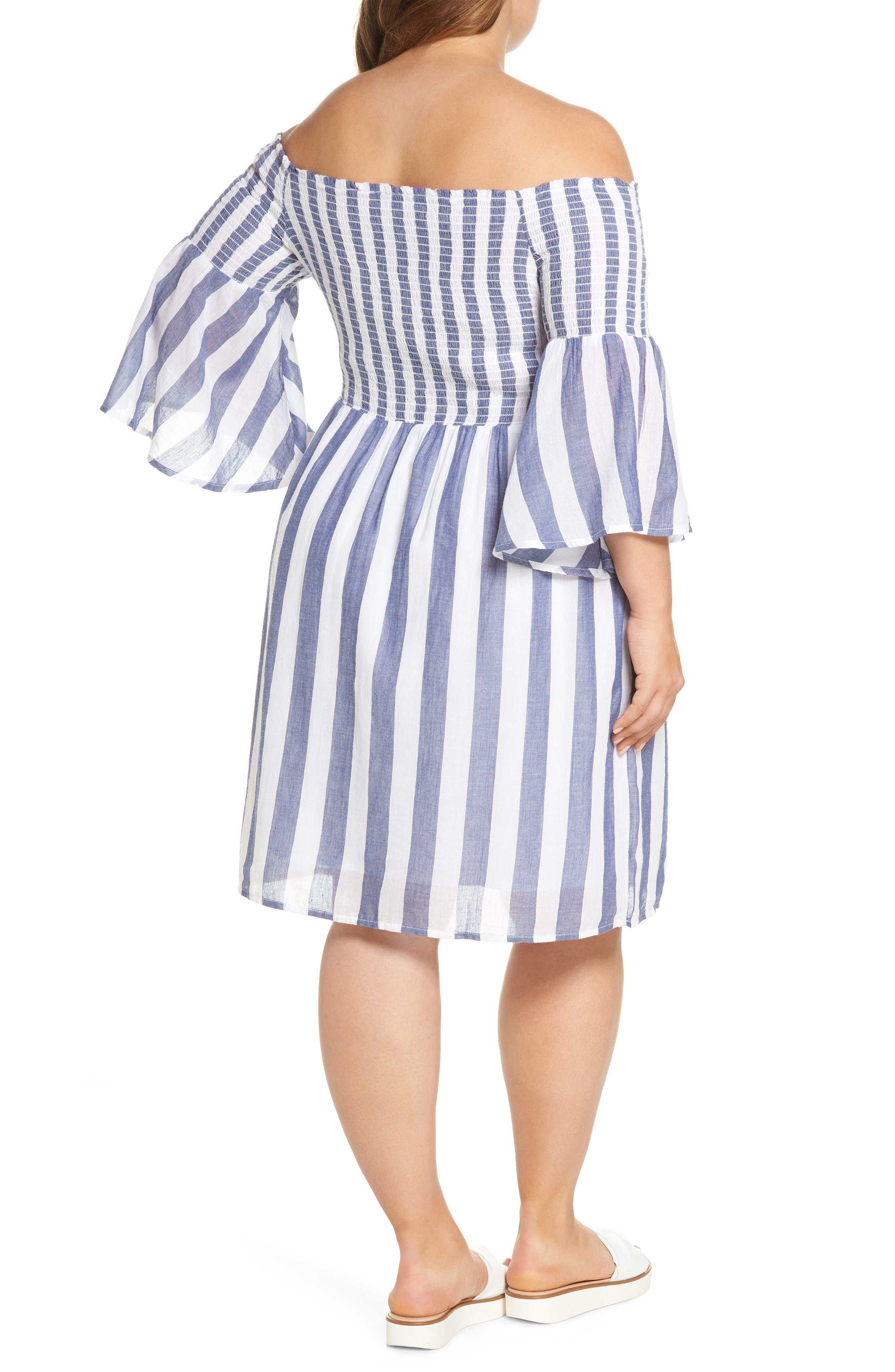 Off the Shoulder Stripe Smocked Dress,                             Alternate thumbnail 2, color,                             Blue Multi