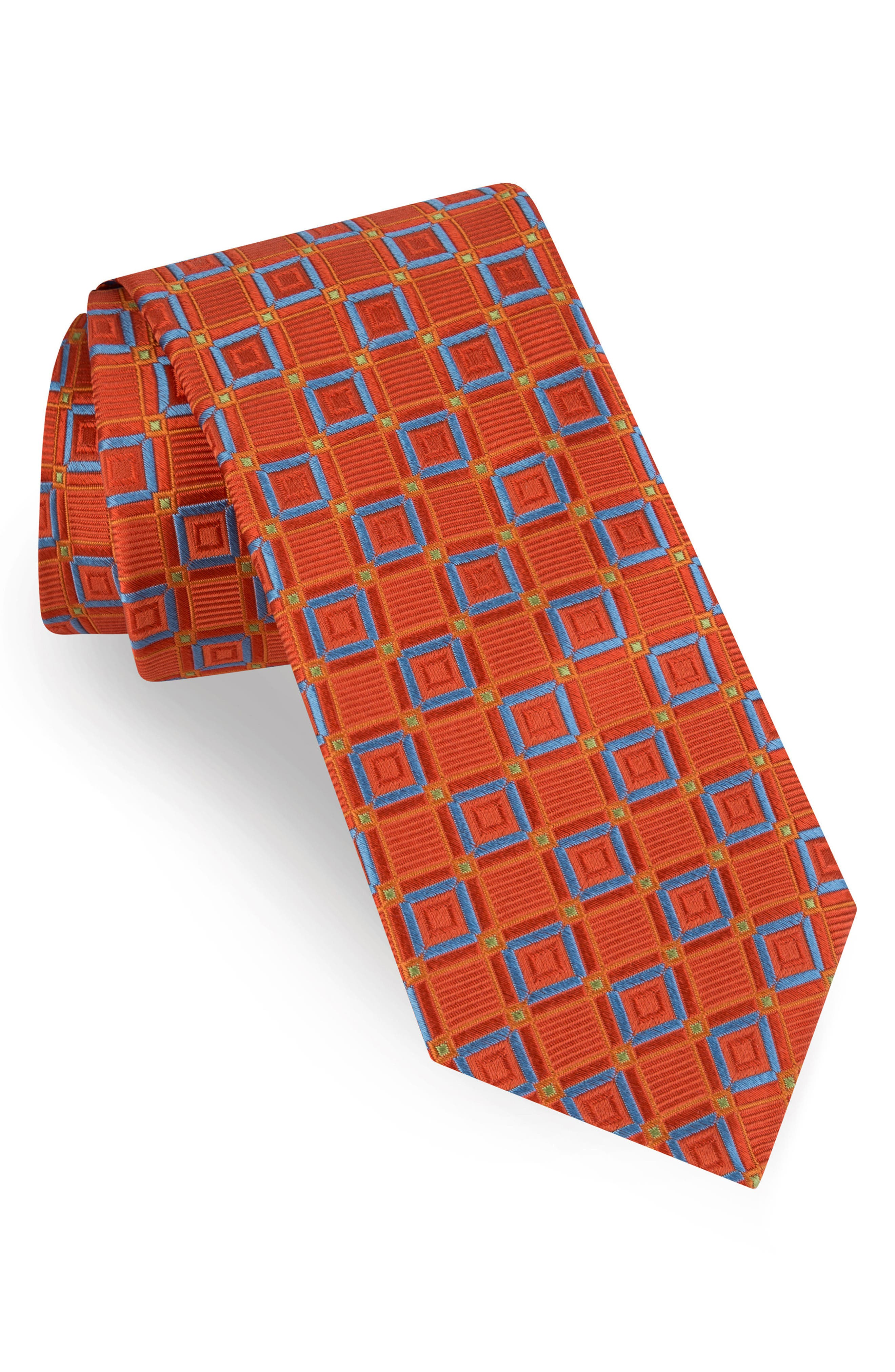 Medallion Silk Tie,                         Main,                         color, Orange