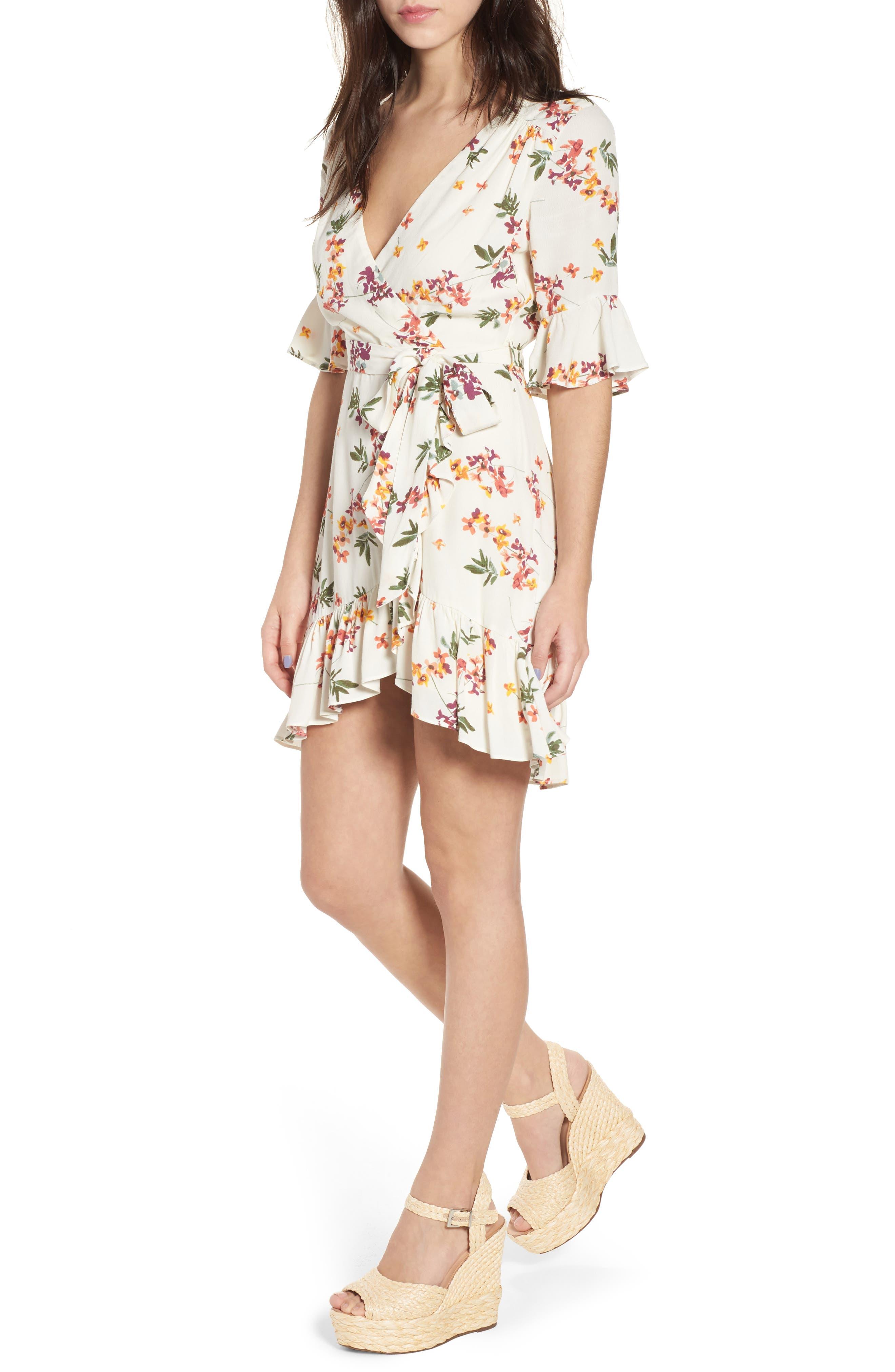 Regina Floral Wrap Minidress,                         Main,                         color, Creme Multi