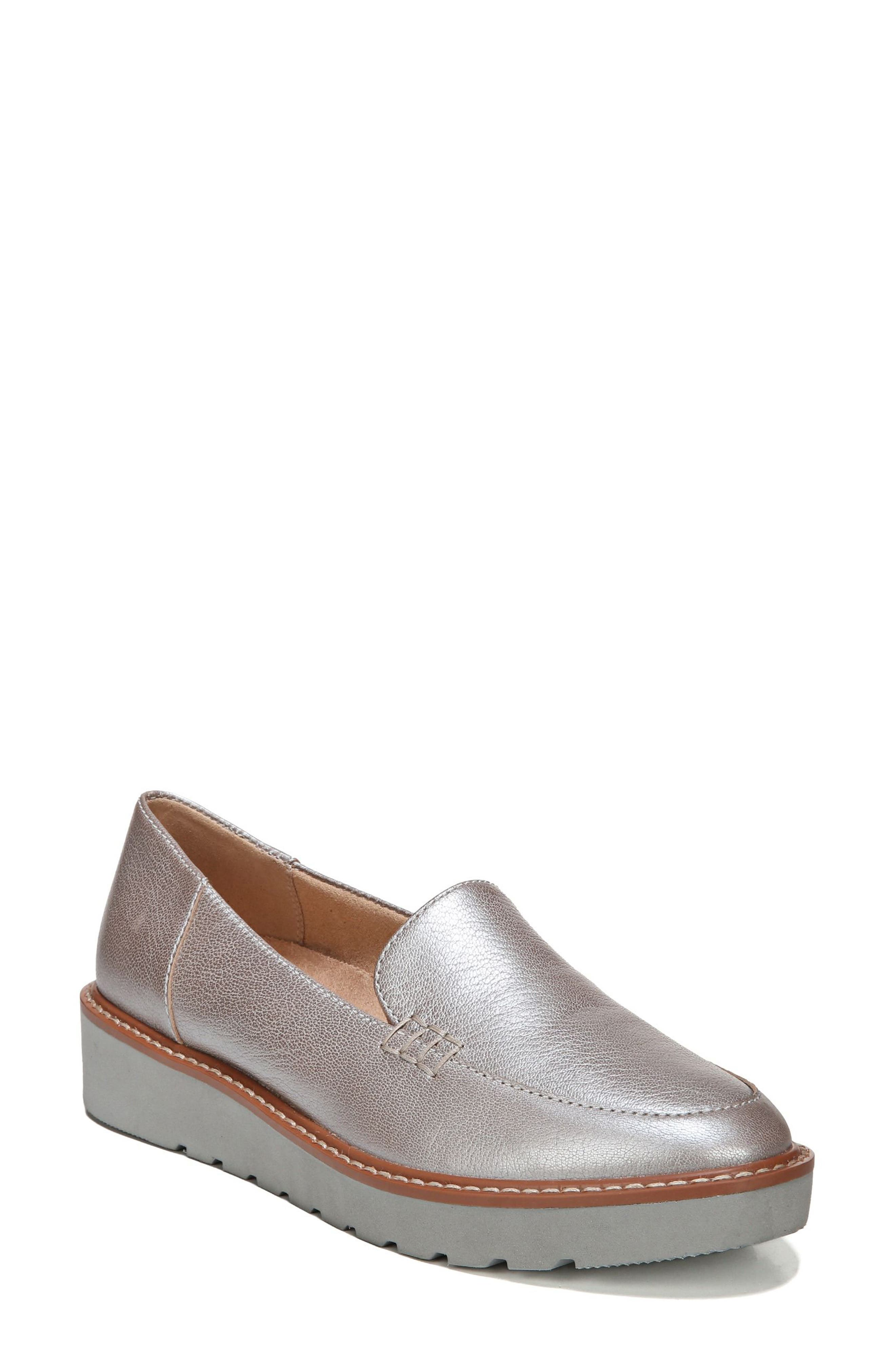 Andie Loafer,                         Main,                         color, Silver Leather