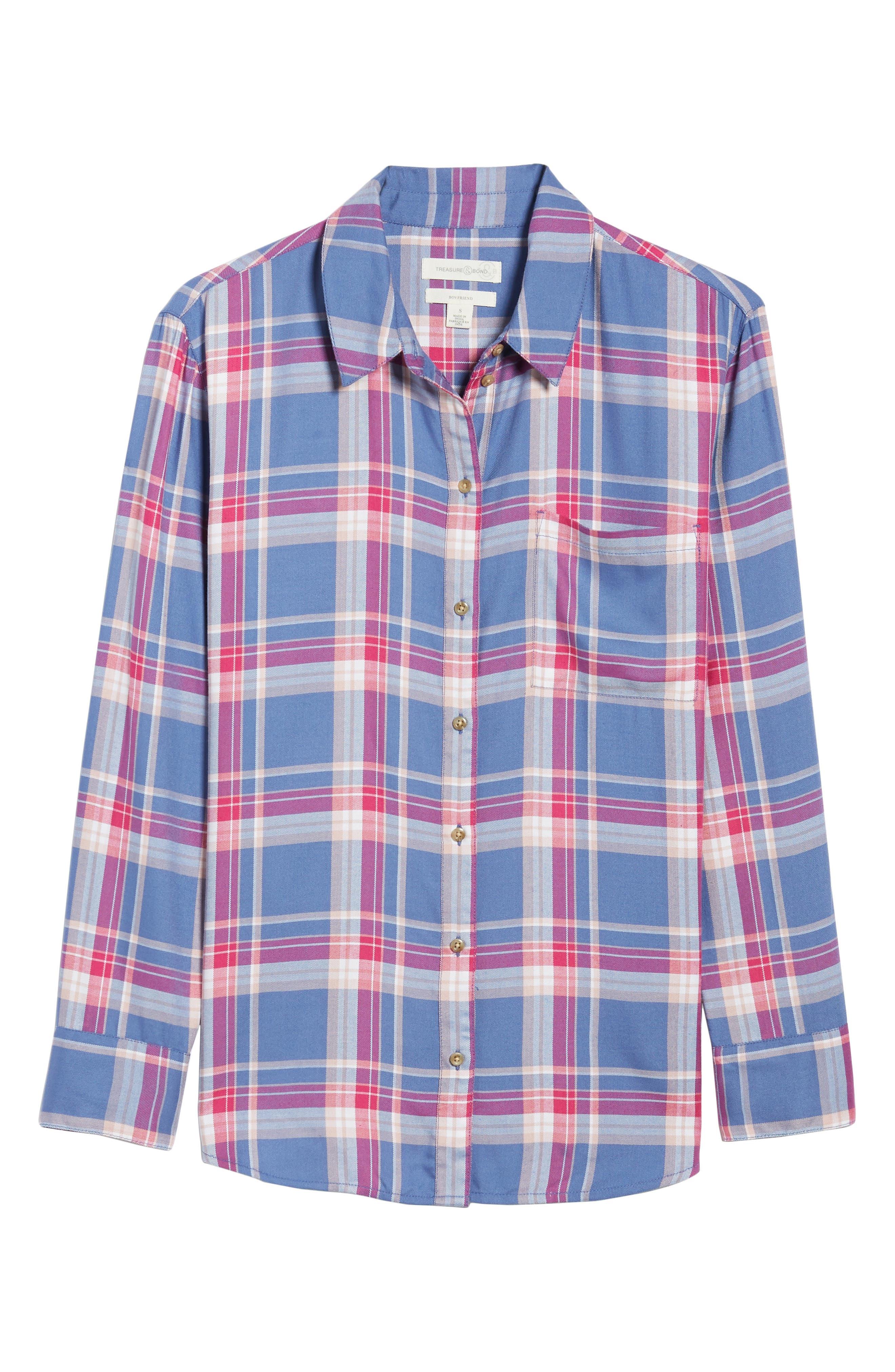 Plaid Boyfriend Shirt,                         Main,                         color, Blue Denim Cube Plaid