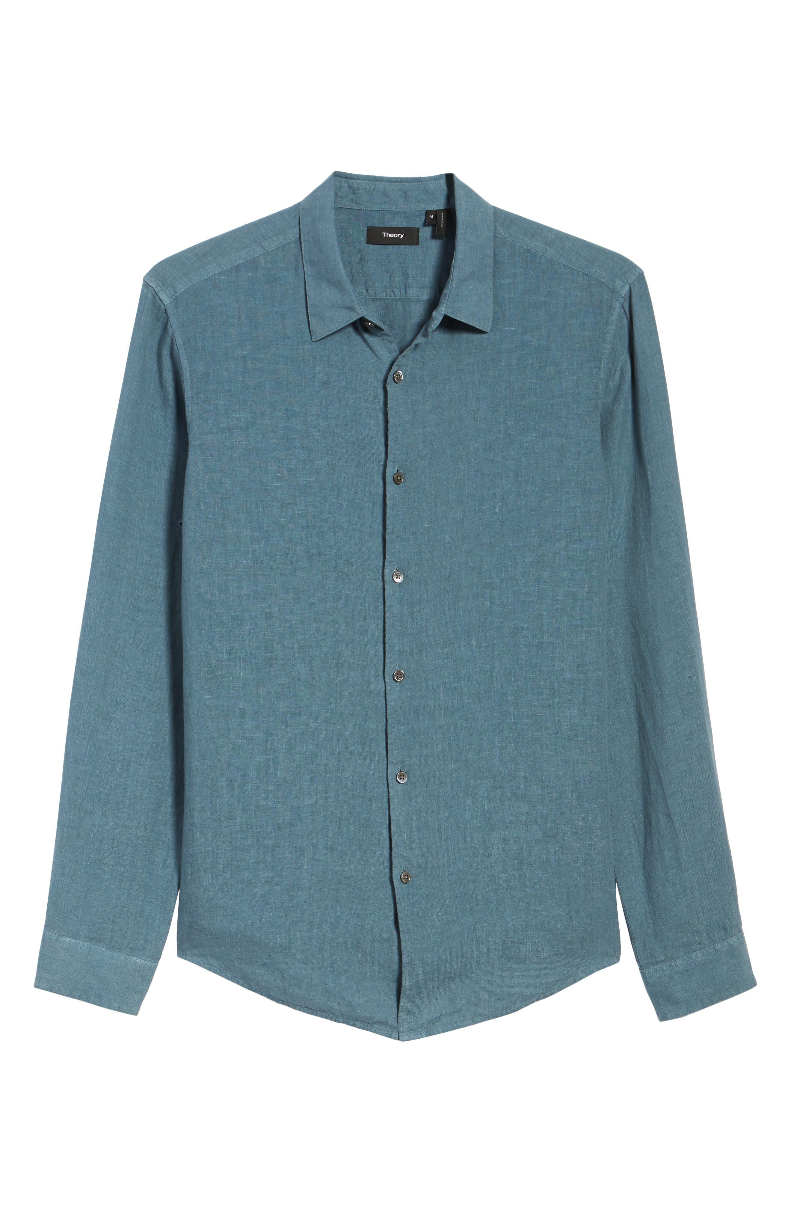 Irving Trim Fit Solid Linen Sport Shirt,                             Alternate thumbnail 6, color,                             Hydro