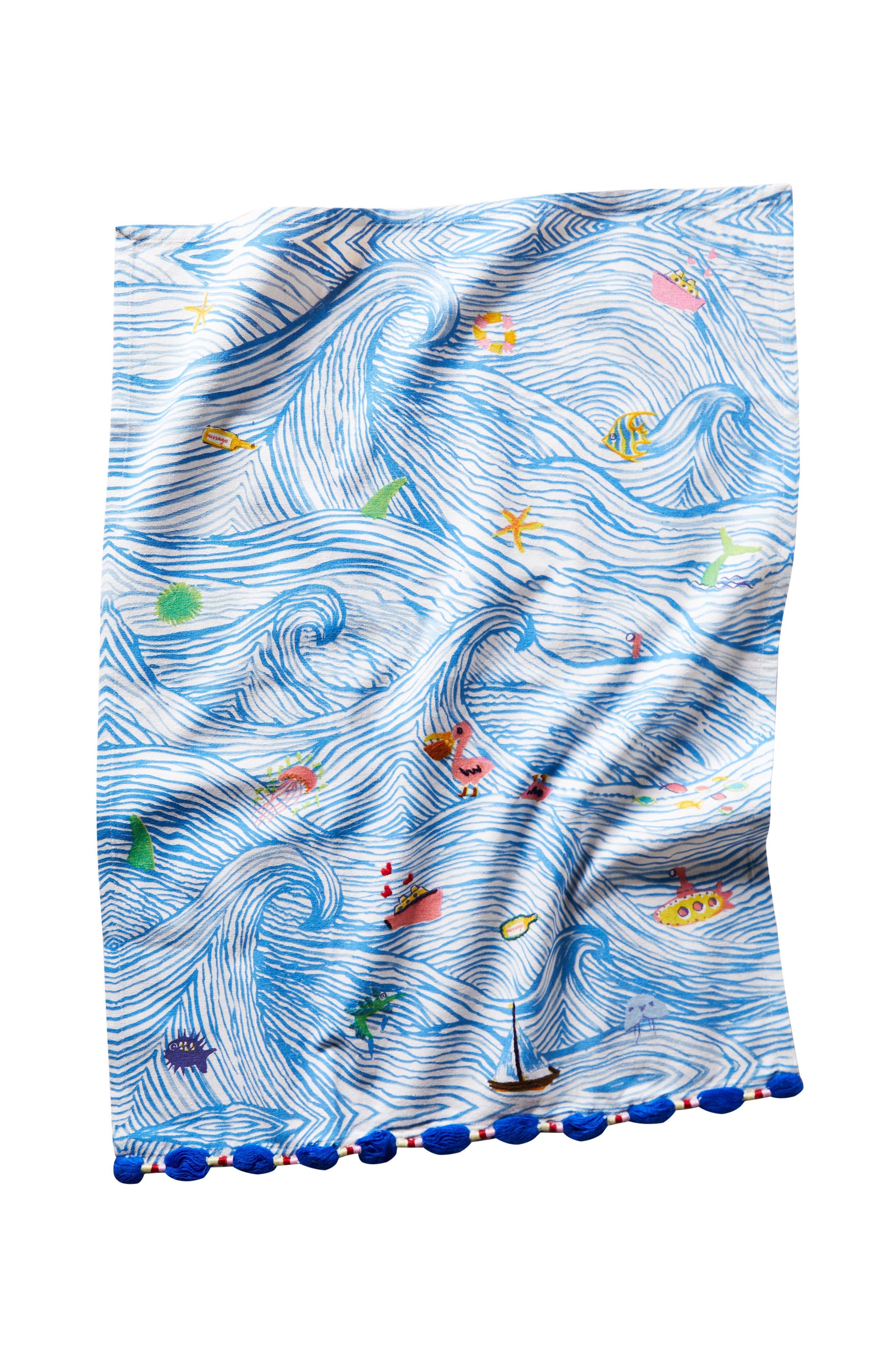Sal Del Mar Dishtowel,                             Alternate thumbnail 4, color,                             Blue Combo