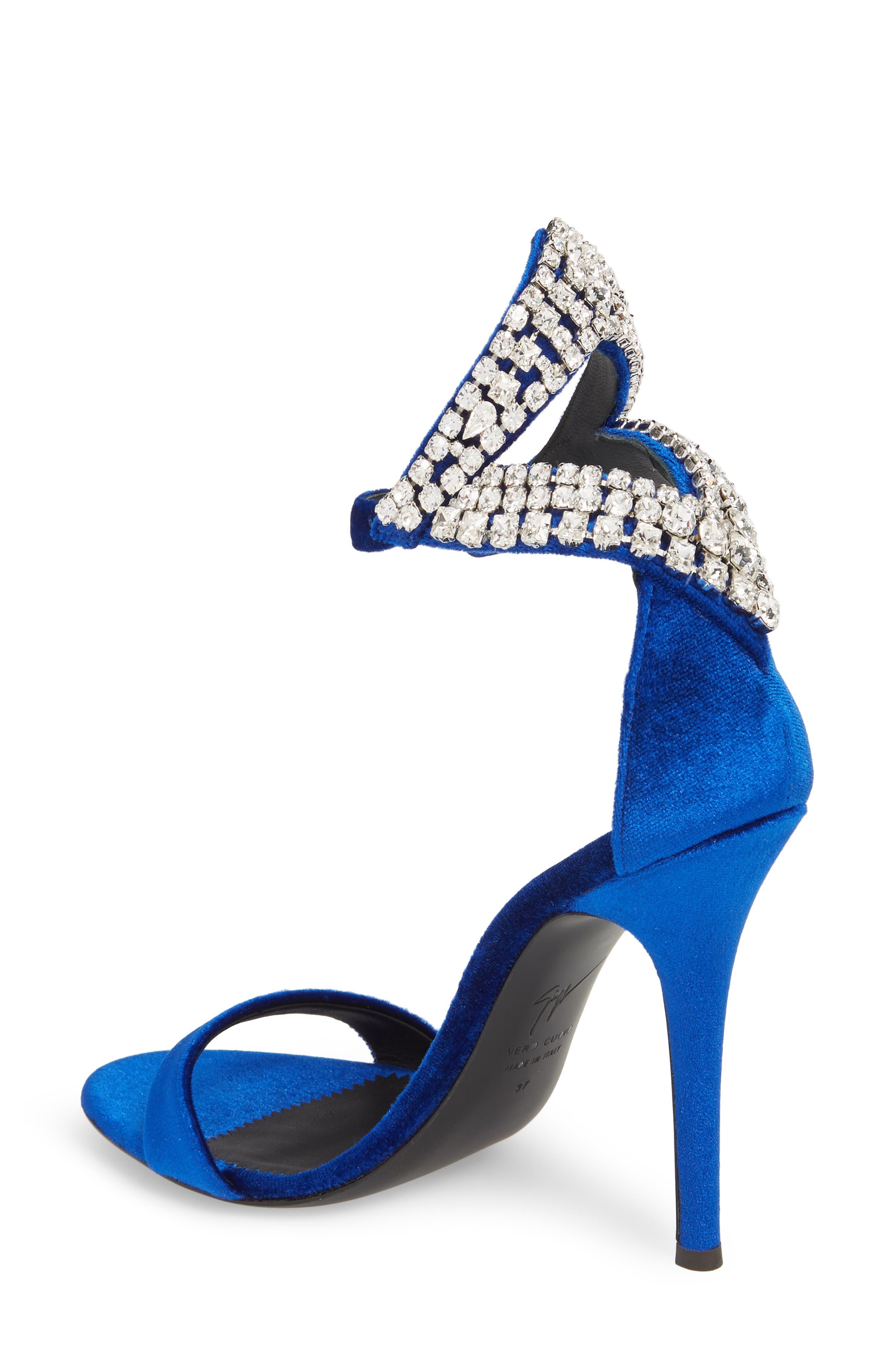Crystal Embellished Sandal,                             Alternate thumbnail 2, color,                             Electric Blue