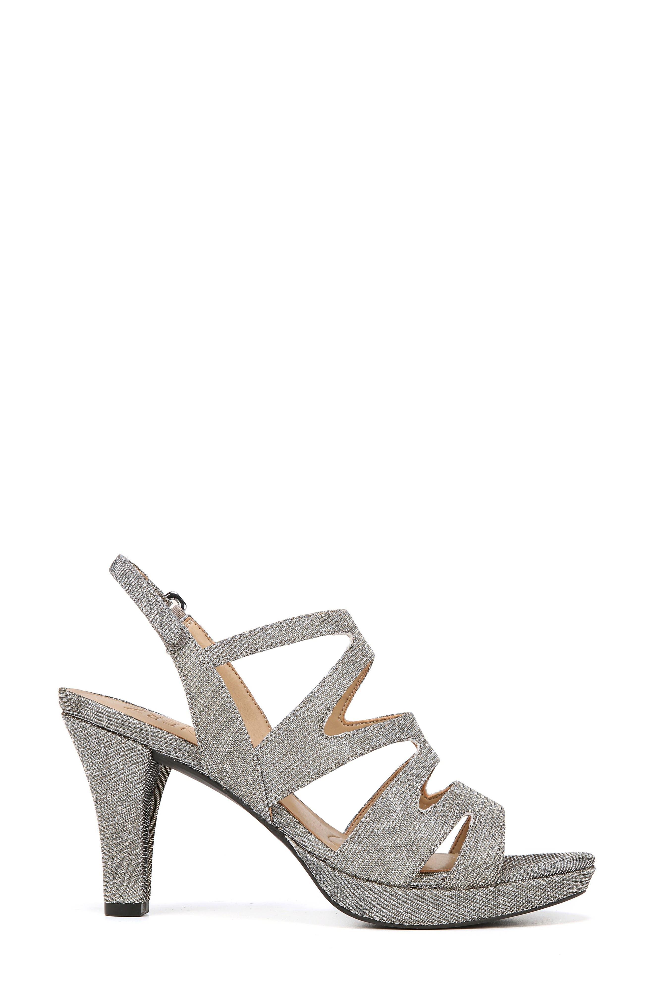 'Pressley' Slingback Platform Sandal,                             Alternate thumbnail 3, color,                             Alloy Sparkle Fabric