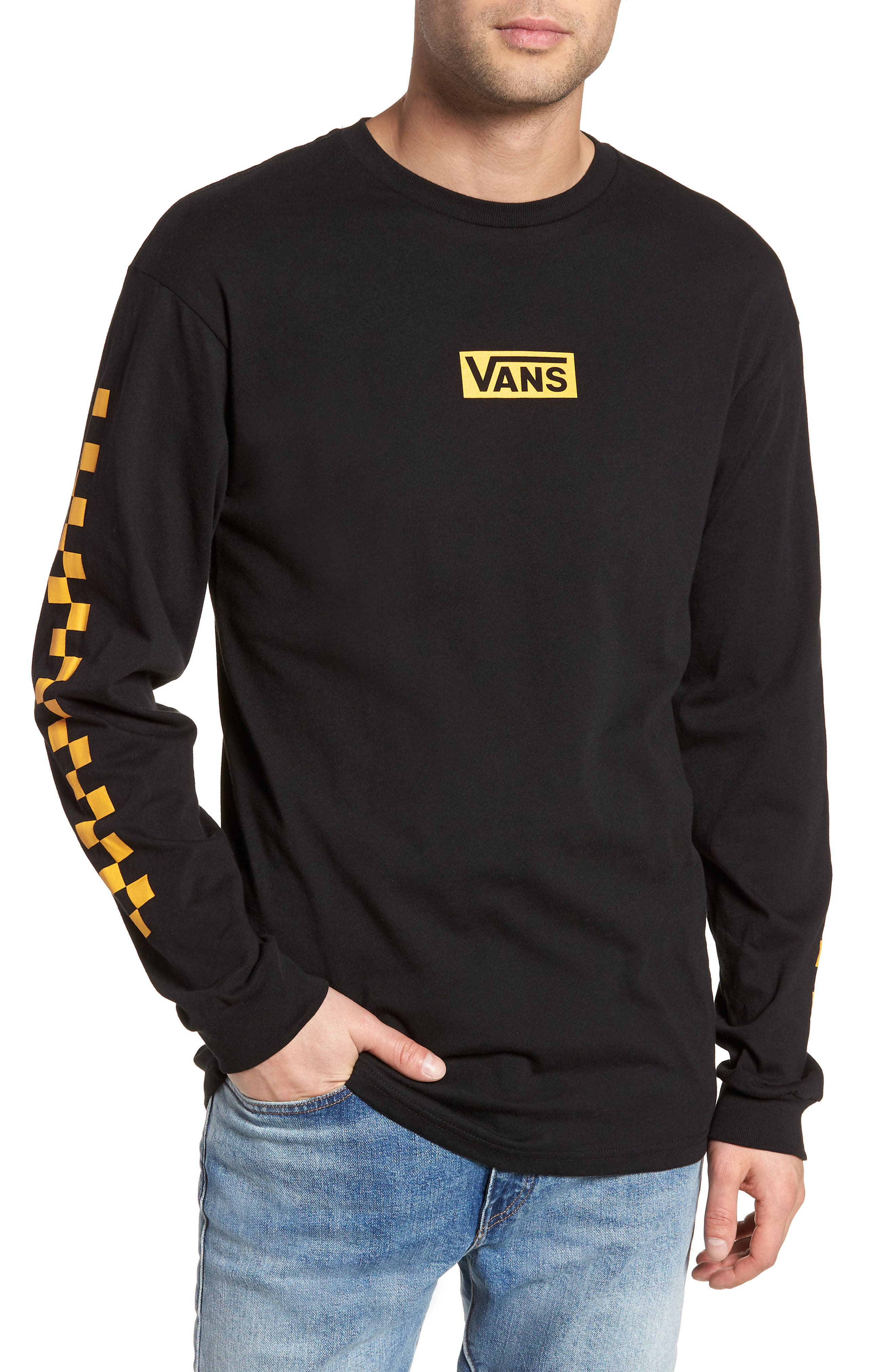 Classic Checkmate Long Sleeve T-Shirt,                         Main,                         color, Black/ Yellow