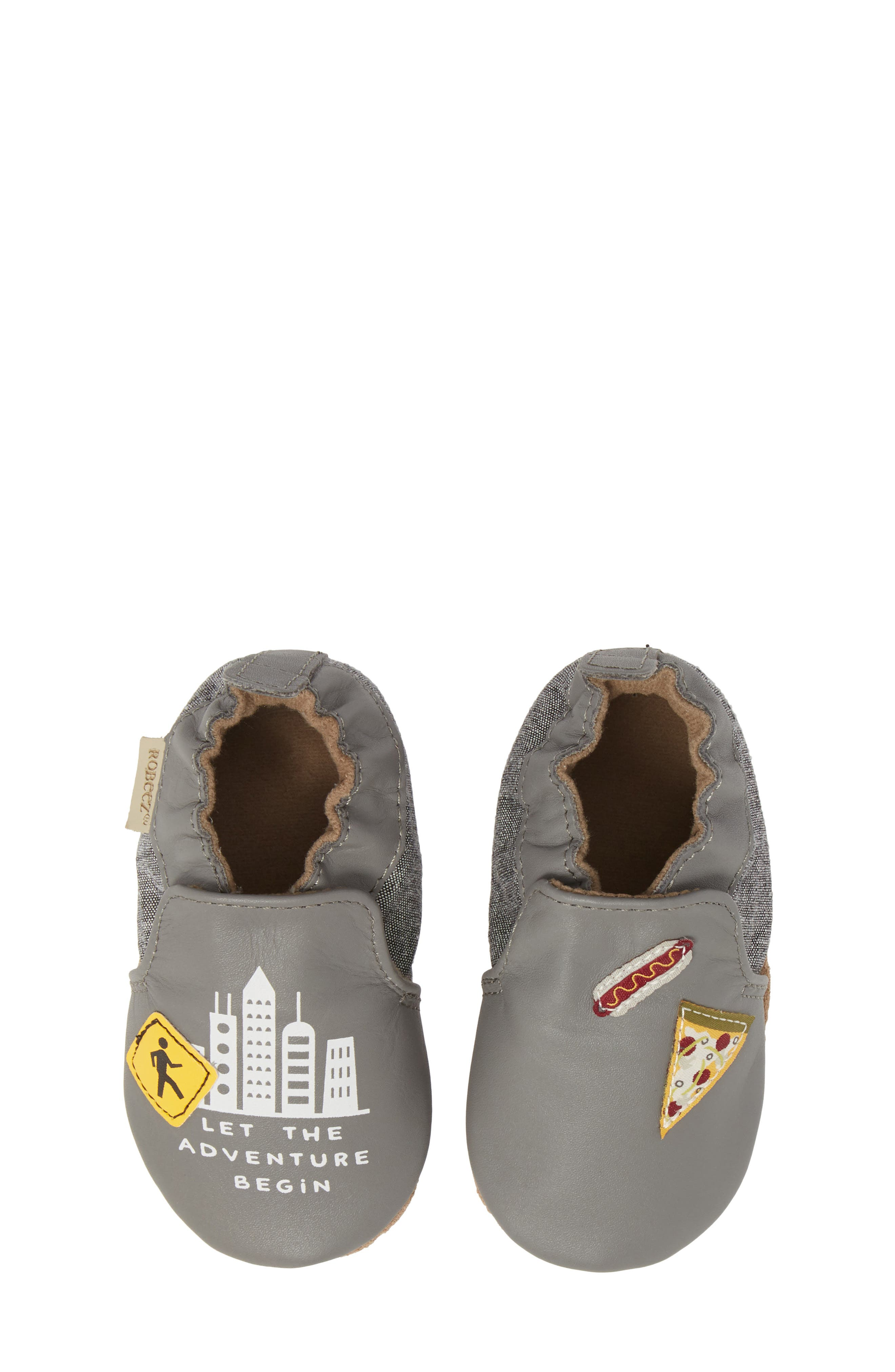 City Life Moccasin Crib Shoe,                         Main,                         color, Grey