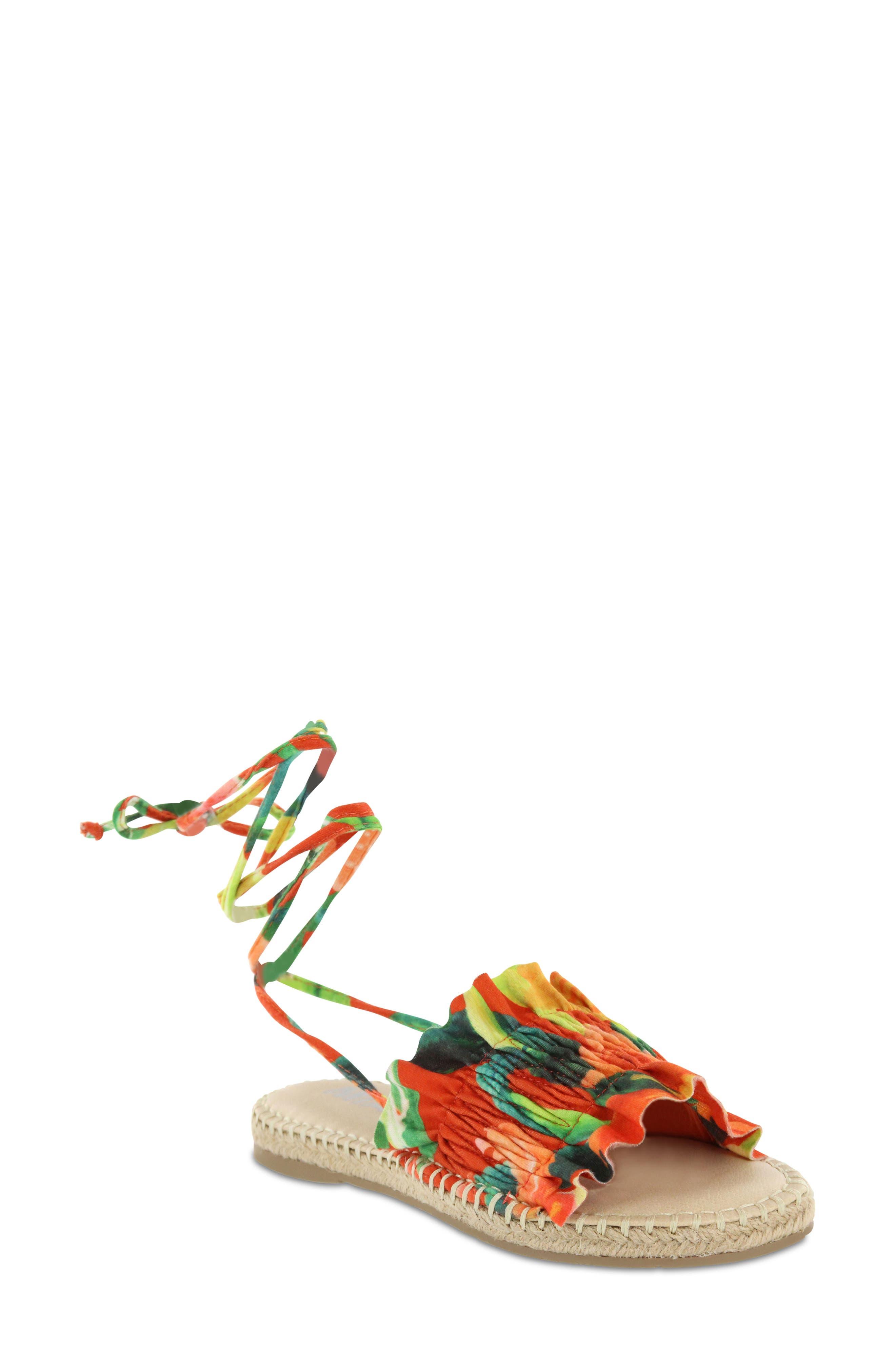 Annalise Sandal,                             Main thumbnail 1, color,                             Red Amazon Scrunch Fabric