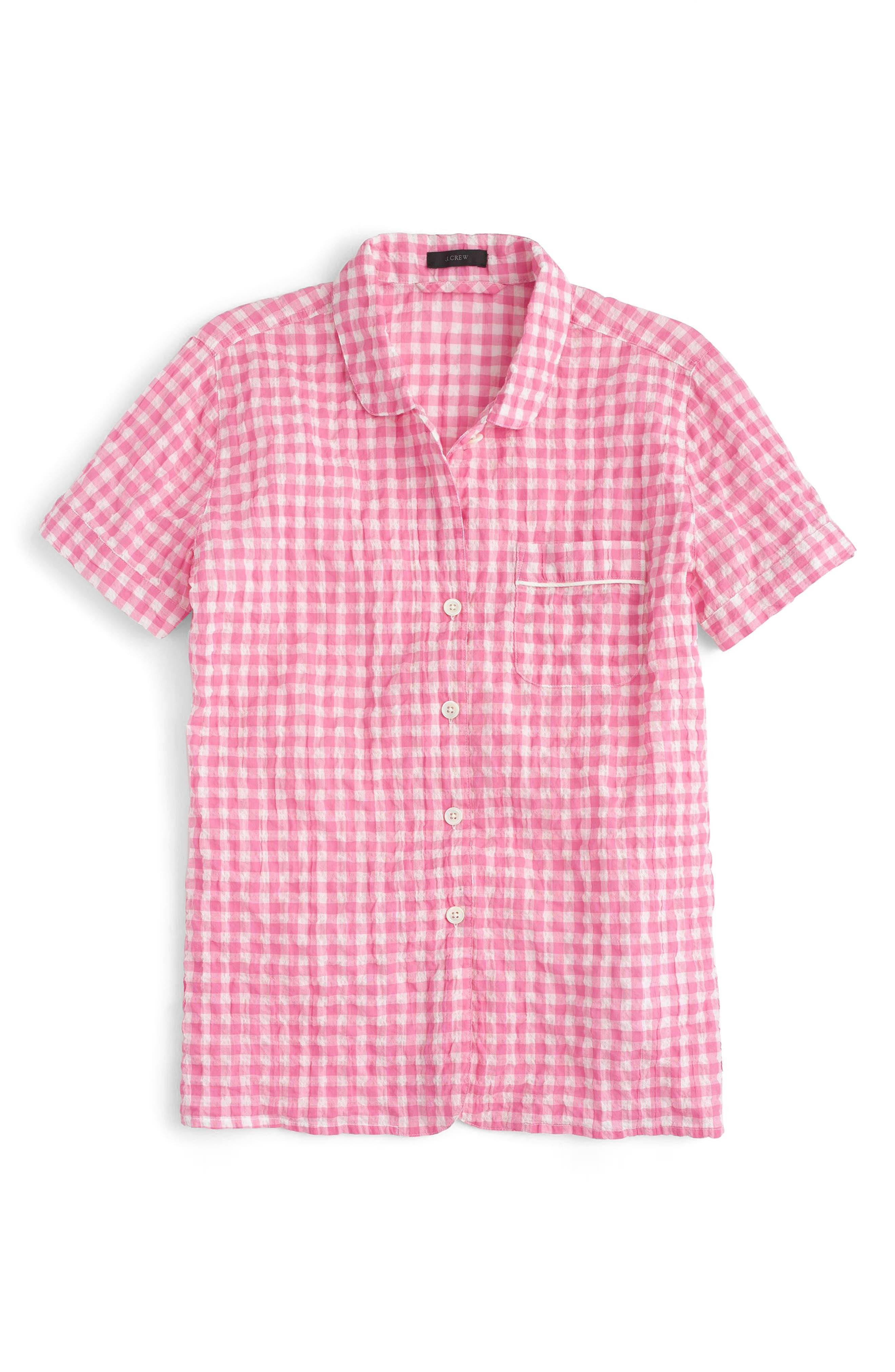 J.Crew Gingham Pajama Set,                             Alternate thumbnail 2, color,                             Ivory Pink
