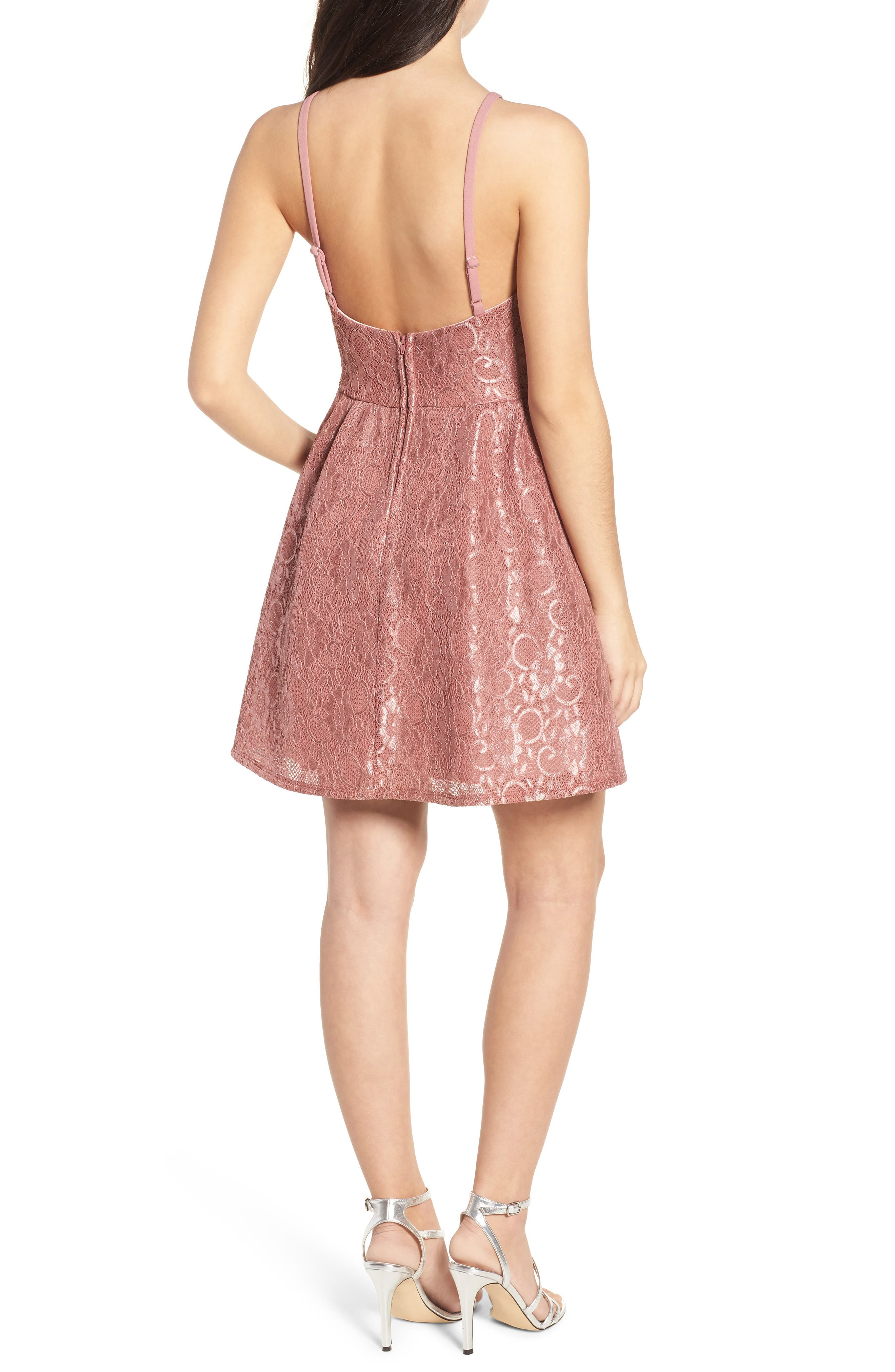 Lace Halter Low Back Party Dress,                             Alternate thumbnail 2, color,                             New Mauve