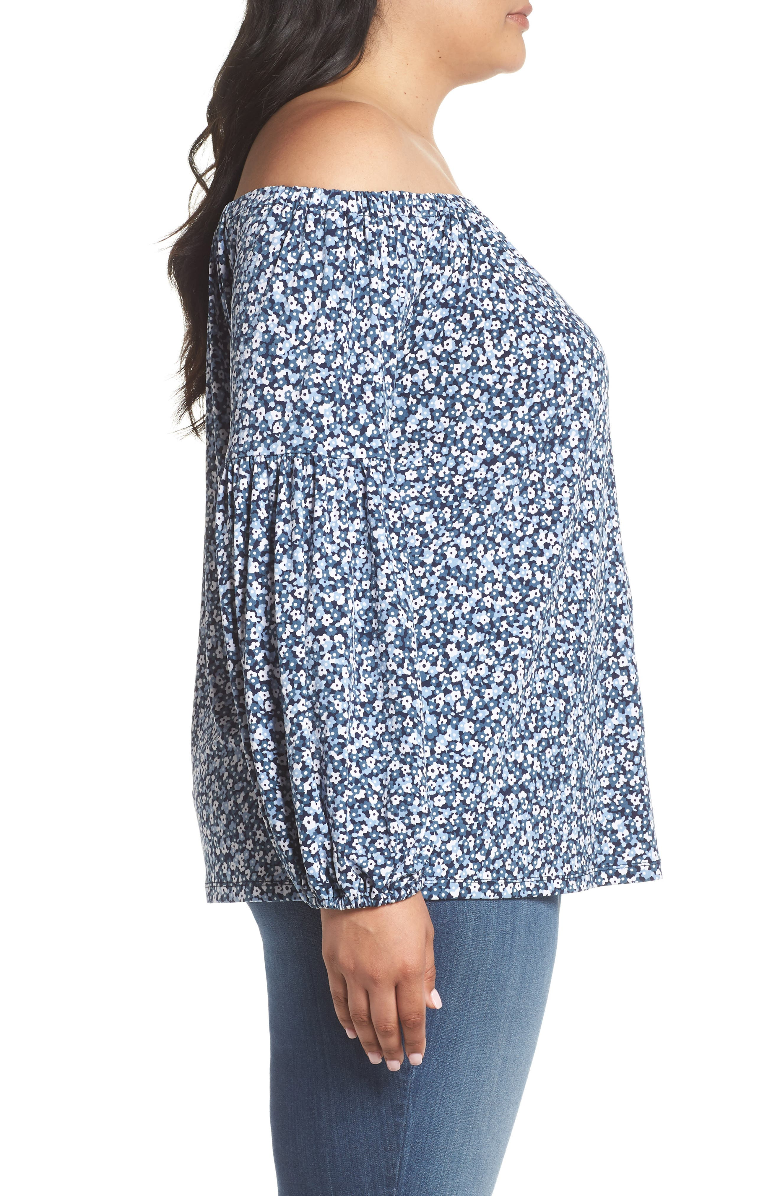 Collage Floral Off the Shoulder Top,                             Alternate thumbnail 3, color,                             True Navy/ Light Chambray