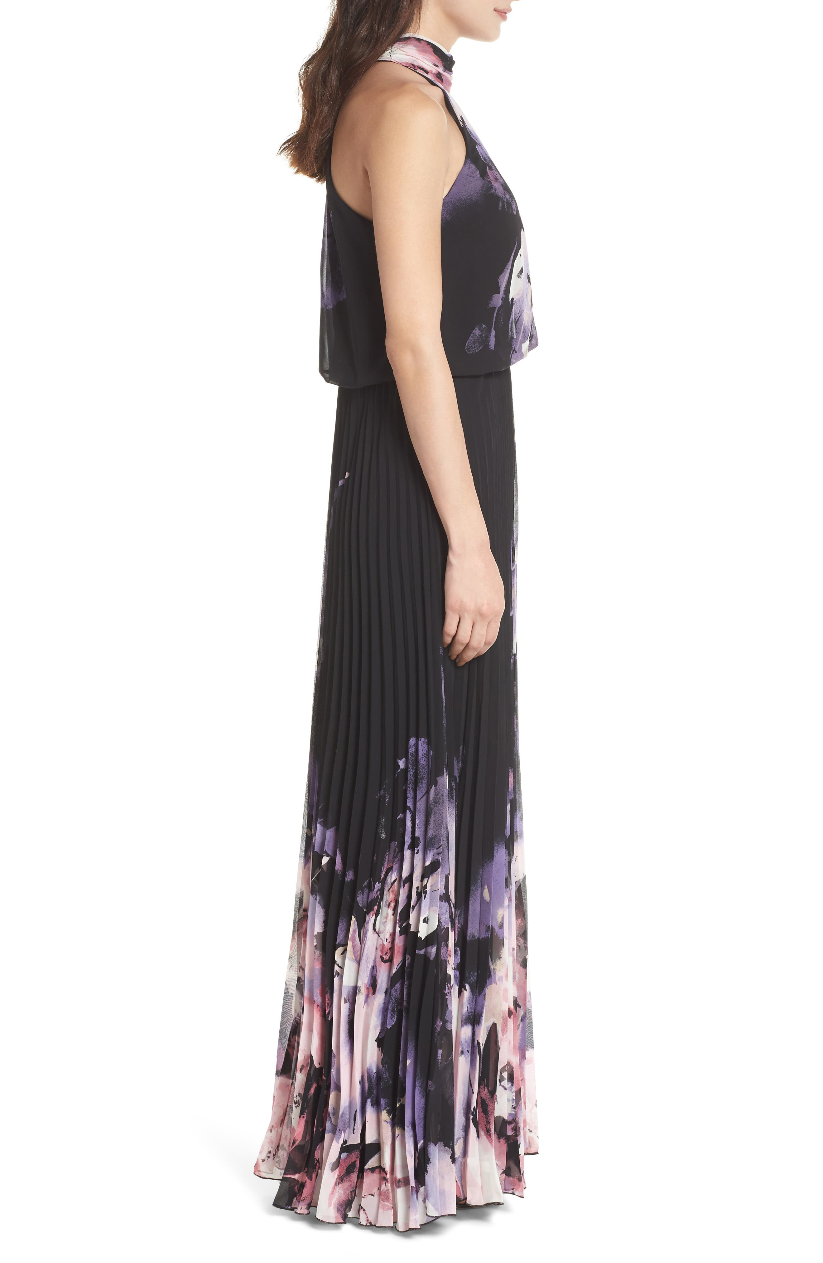 Pleated Halter Neck Chiffon Gown,                             Alternate thumbnail 3, color,                             Black/ Pink