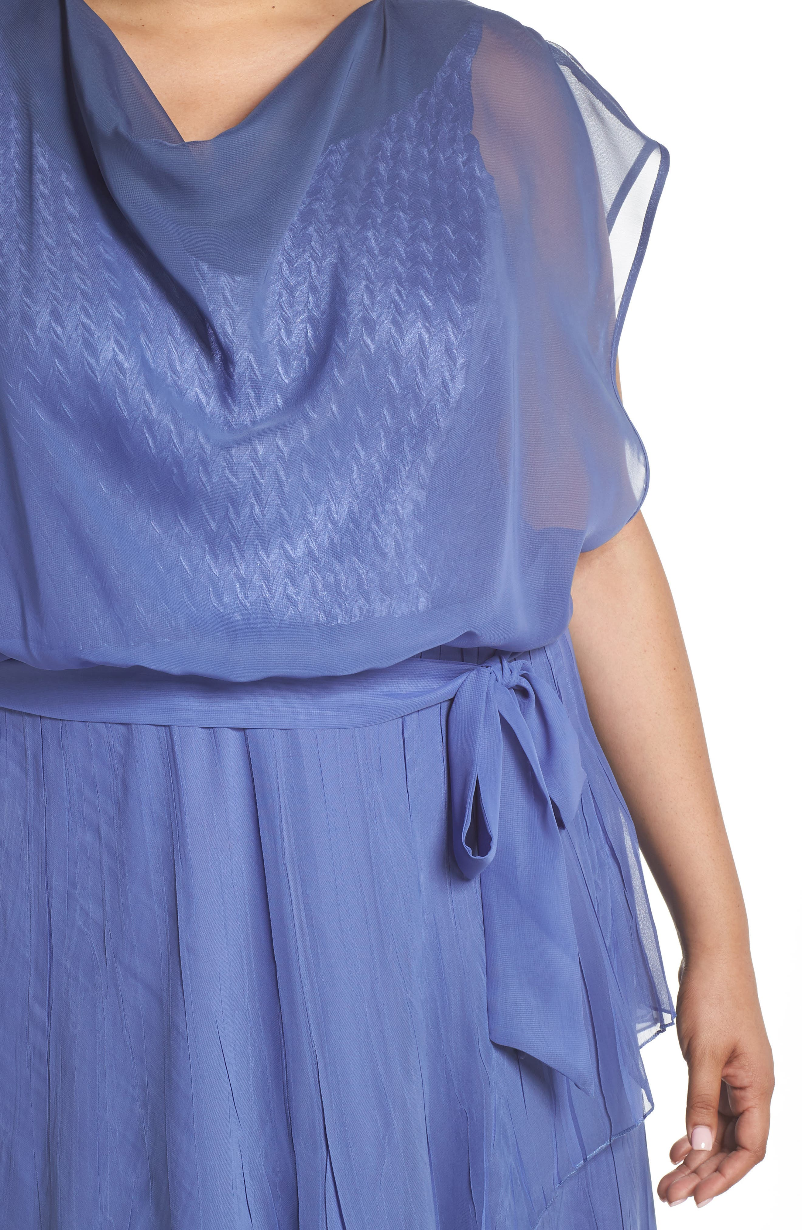 Charmeuse & Chiffon Blouson Dress,                             Alternate thumbnail 4, color,                             Fregatta Blue Ombre