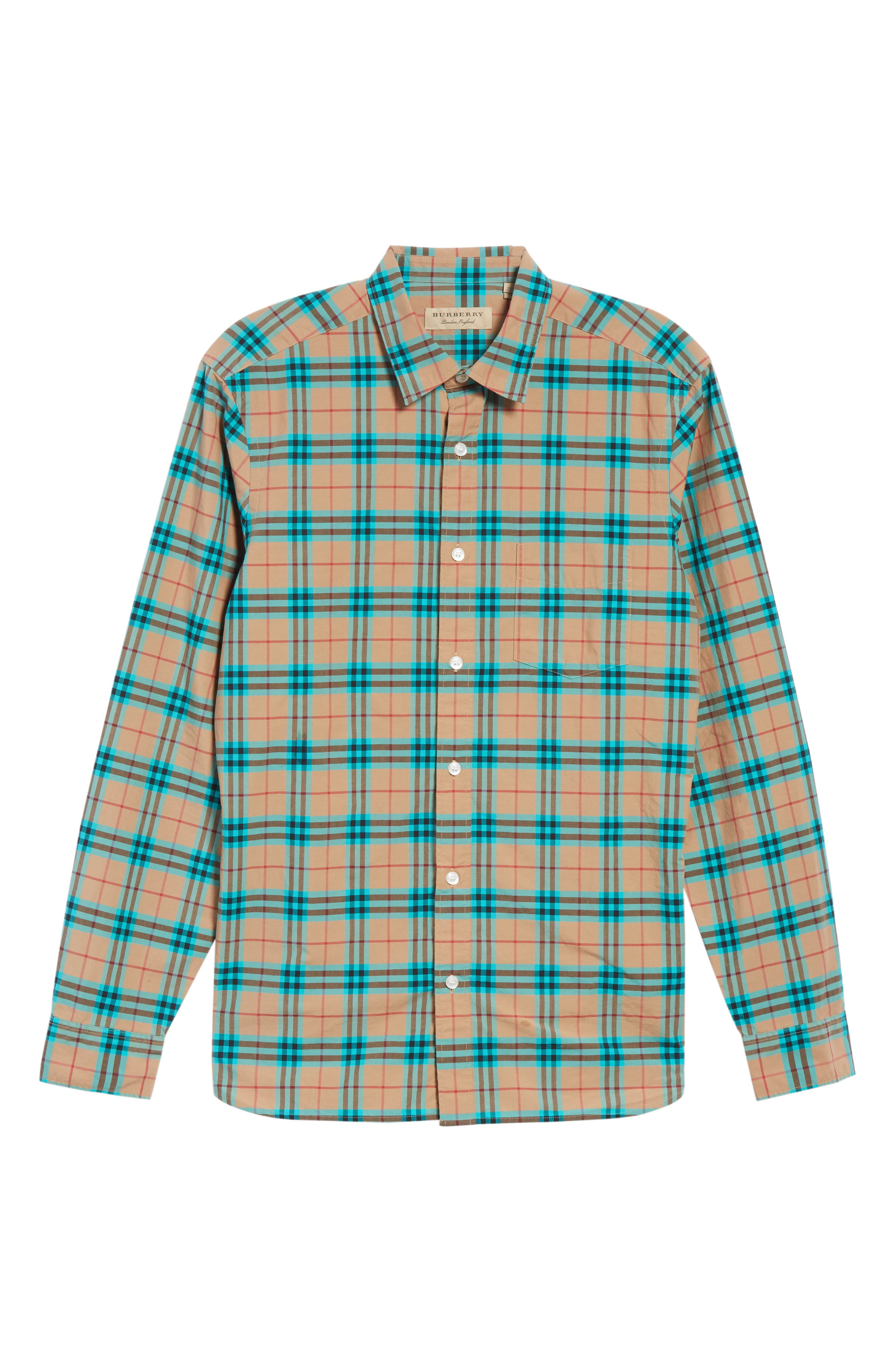Alexander Check Sport Shirt,                             Alternate thumbnail 6, color,                             Aqua Green